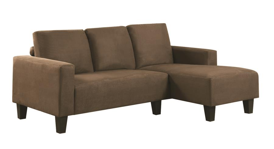 Sothell contemporary brown microfiber sectional sofa with for Affordable chaise