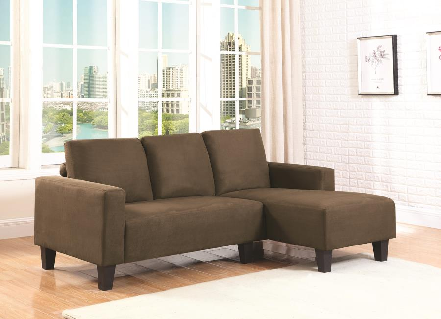 Sothell contemporary brown microfiber sectional sofa with for Brown sectional sofa with chaise