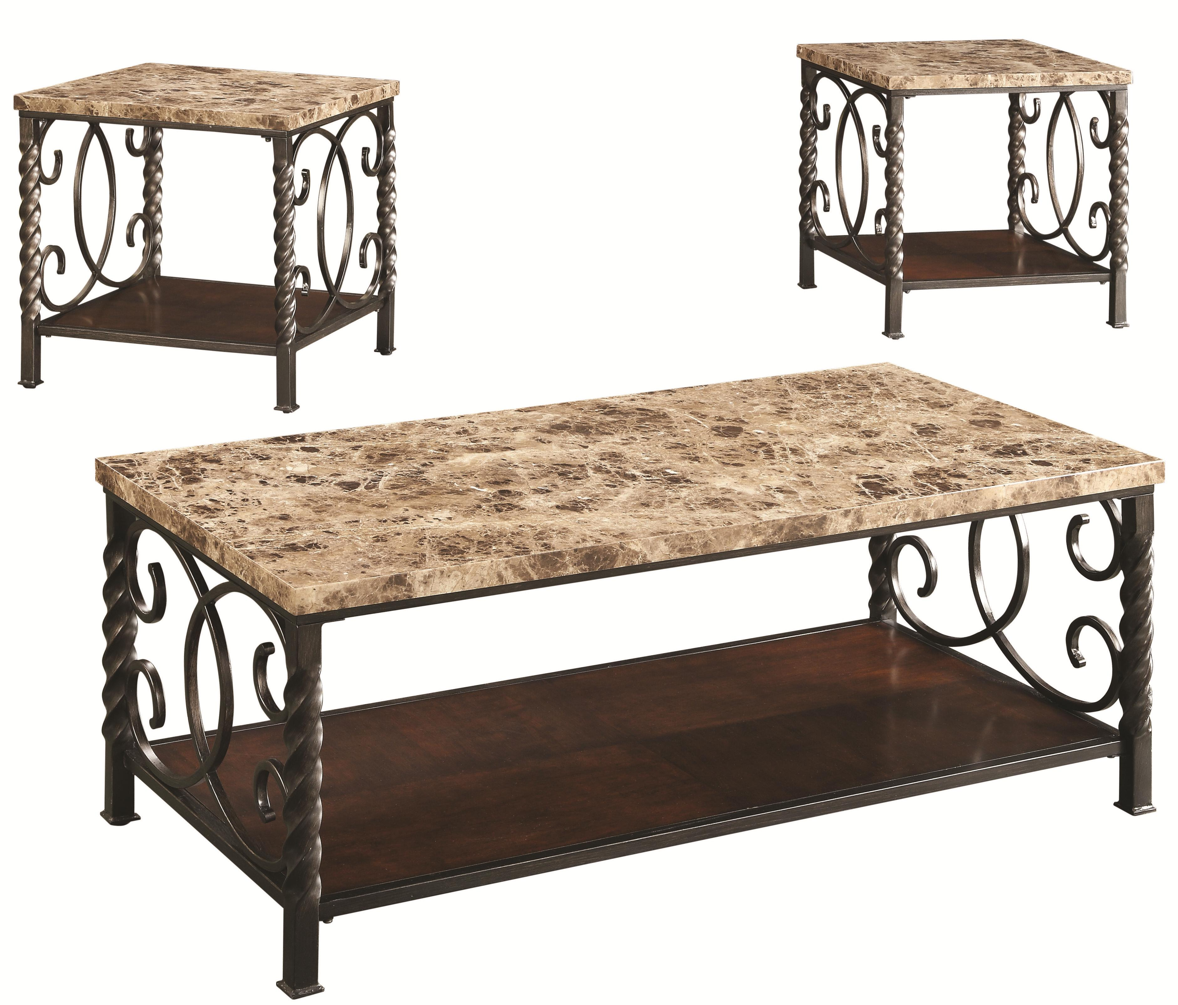 3 piece occasional table sets 3pc occasional set w faux for Occasional furniture
