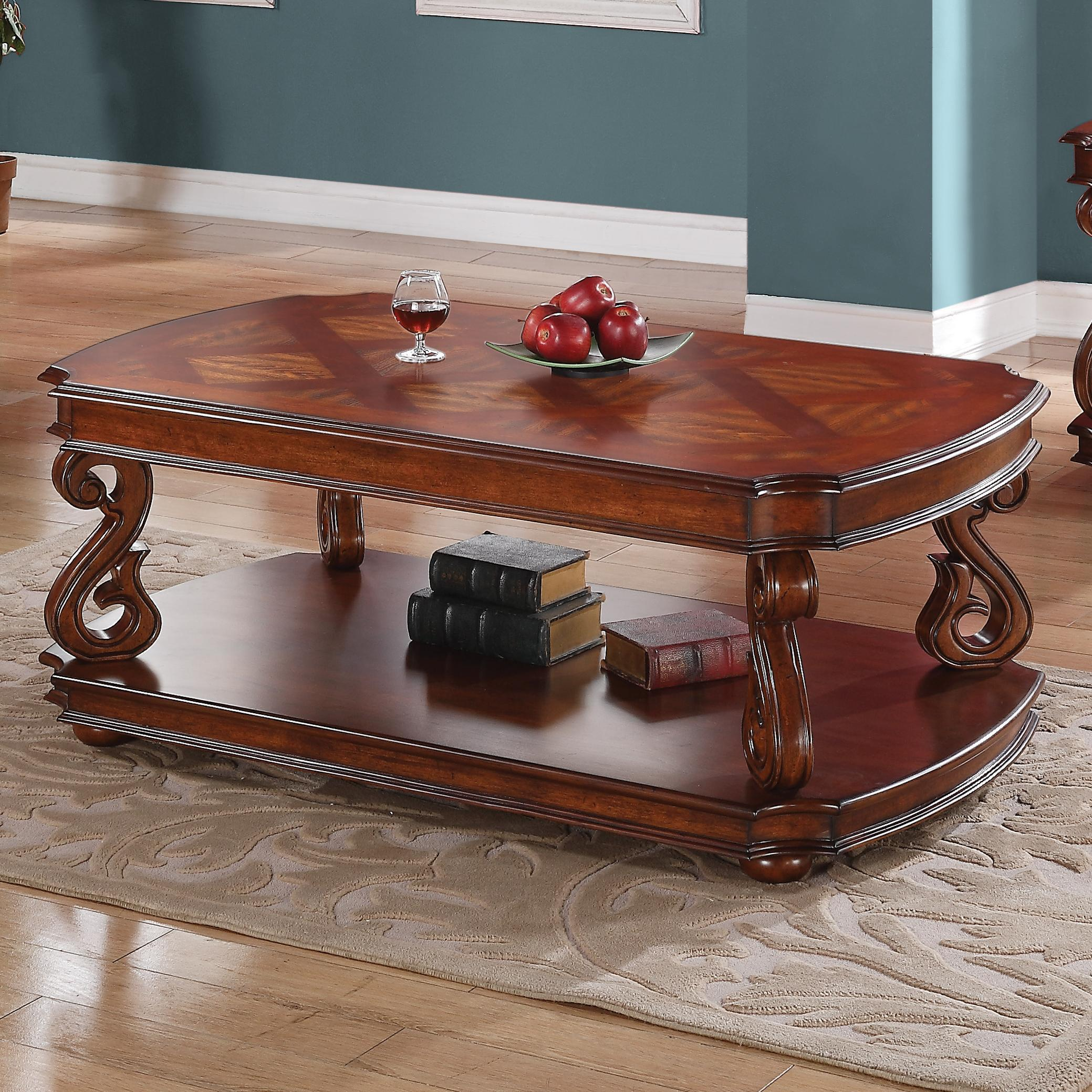 Occasional Group Traditional Coffee Table With Parquet Veneers In Dark Cherry Finish Quality