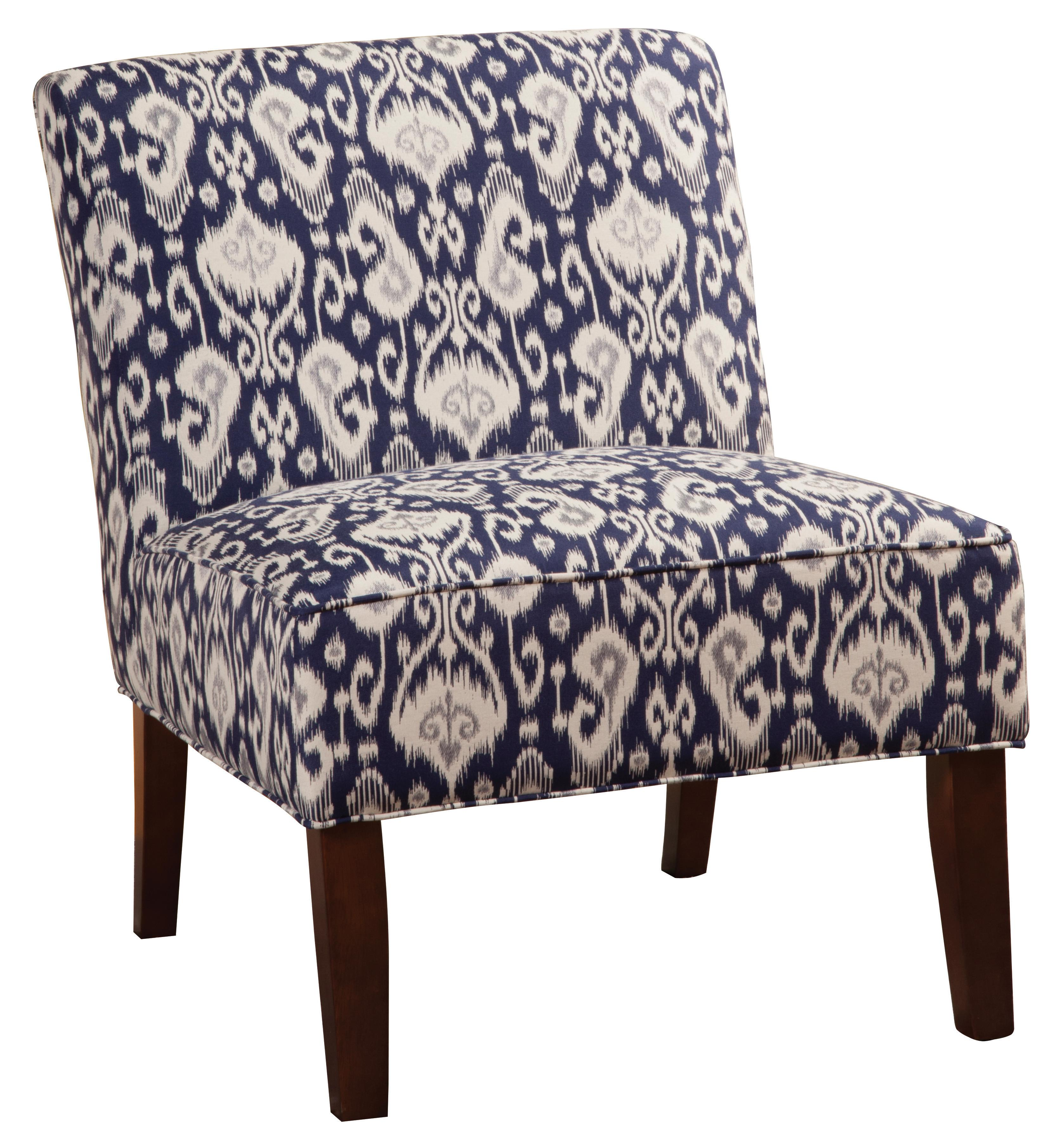 Beau Accent Seating Armless Accent Chair In Navy/White Ikat Fabric