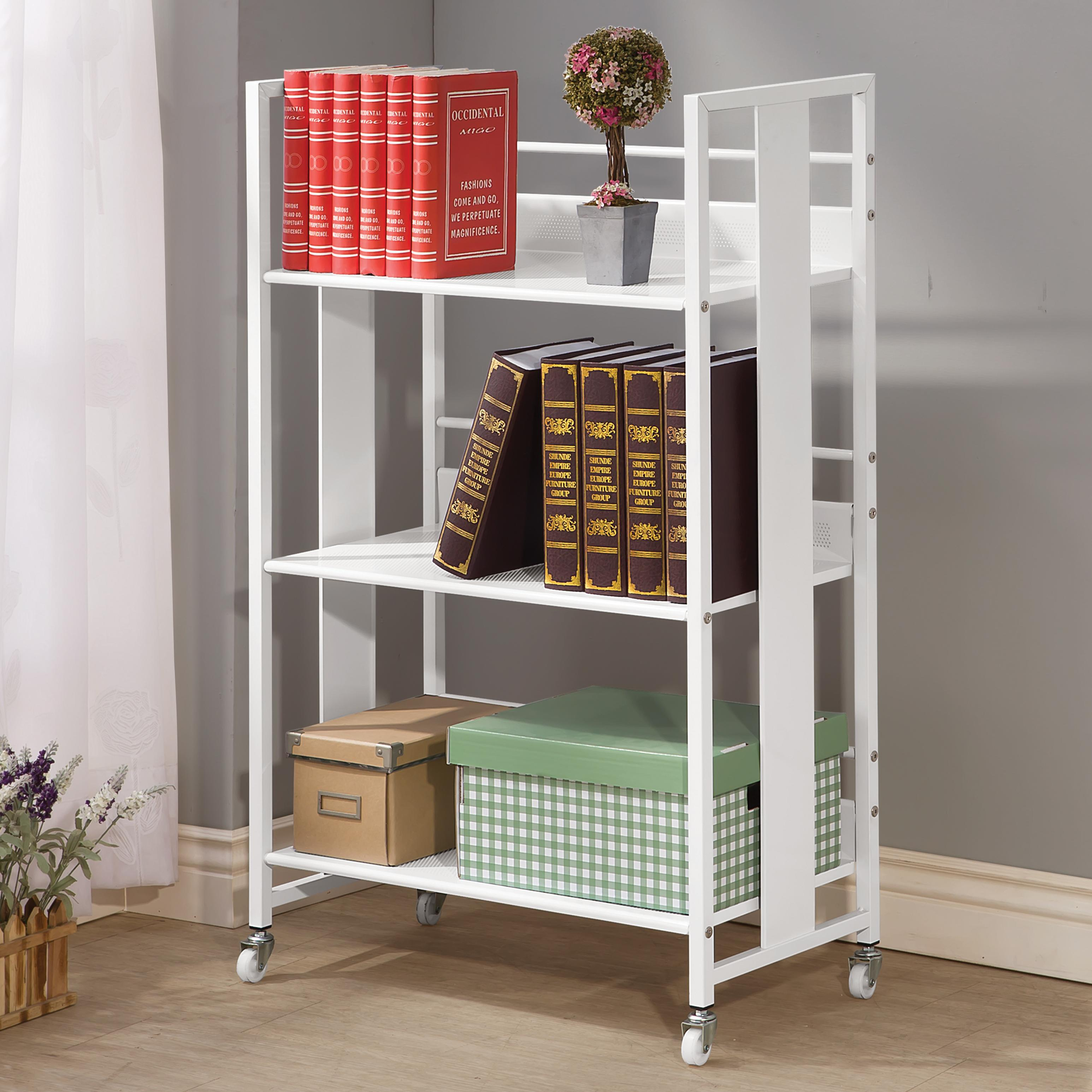 Bookcases Contemporary White Metal Bookcase With Casters