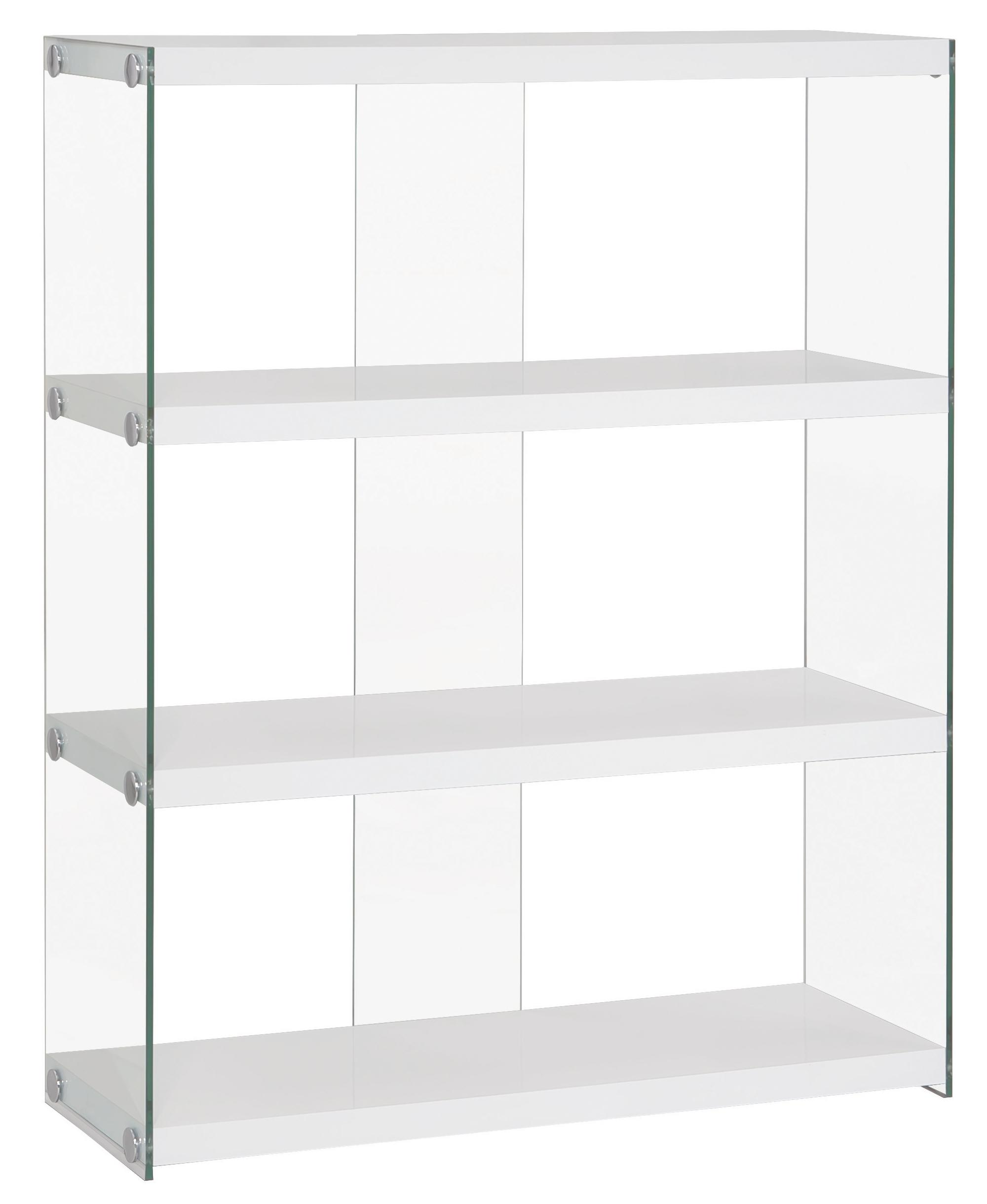 Bookcases Glossy White Bookcase With Glass Sides Quality