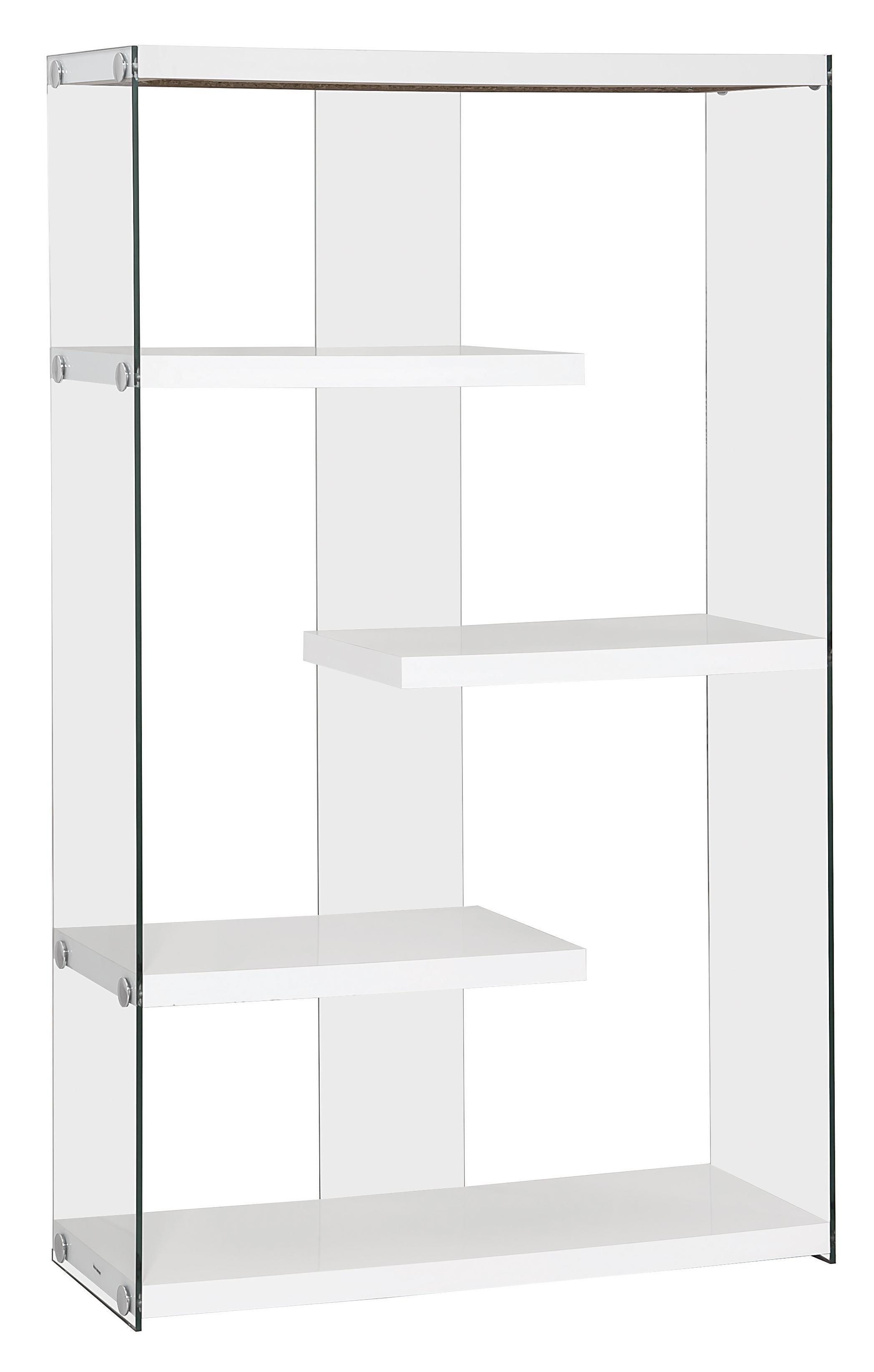 Bookcases Glossy White Asymmetrical Bookcase With Glass