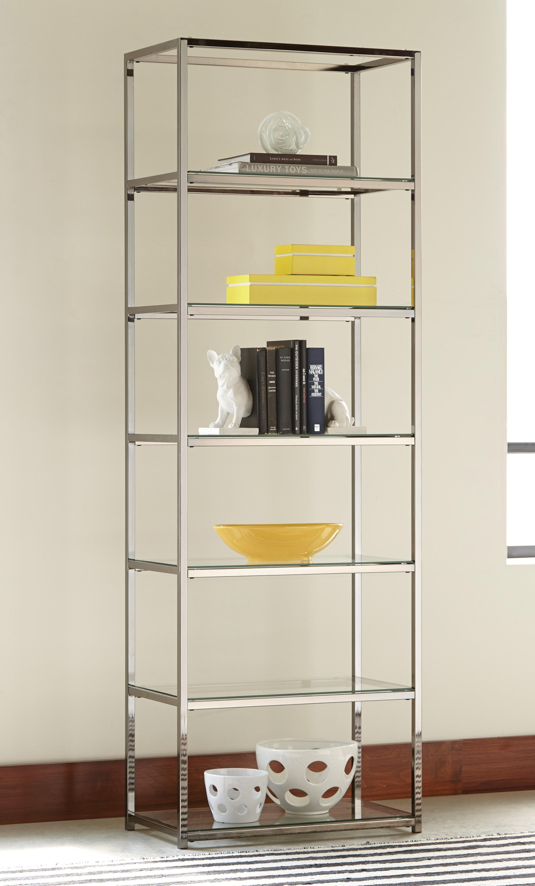 bookcases contemporary metal bookcase with glass shelves quality furniture at affordable. Black Bedroom Furniture Sets. Home Design Ideas