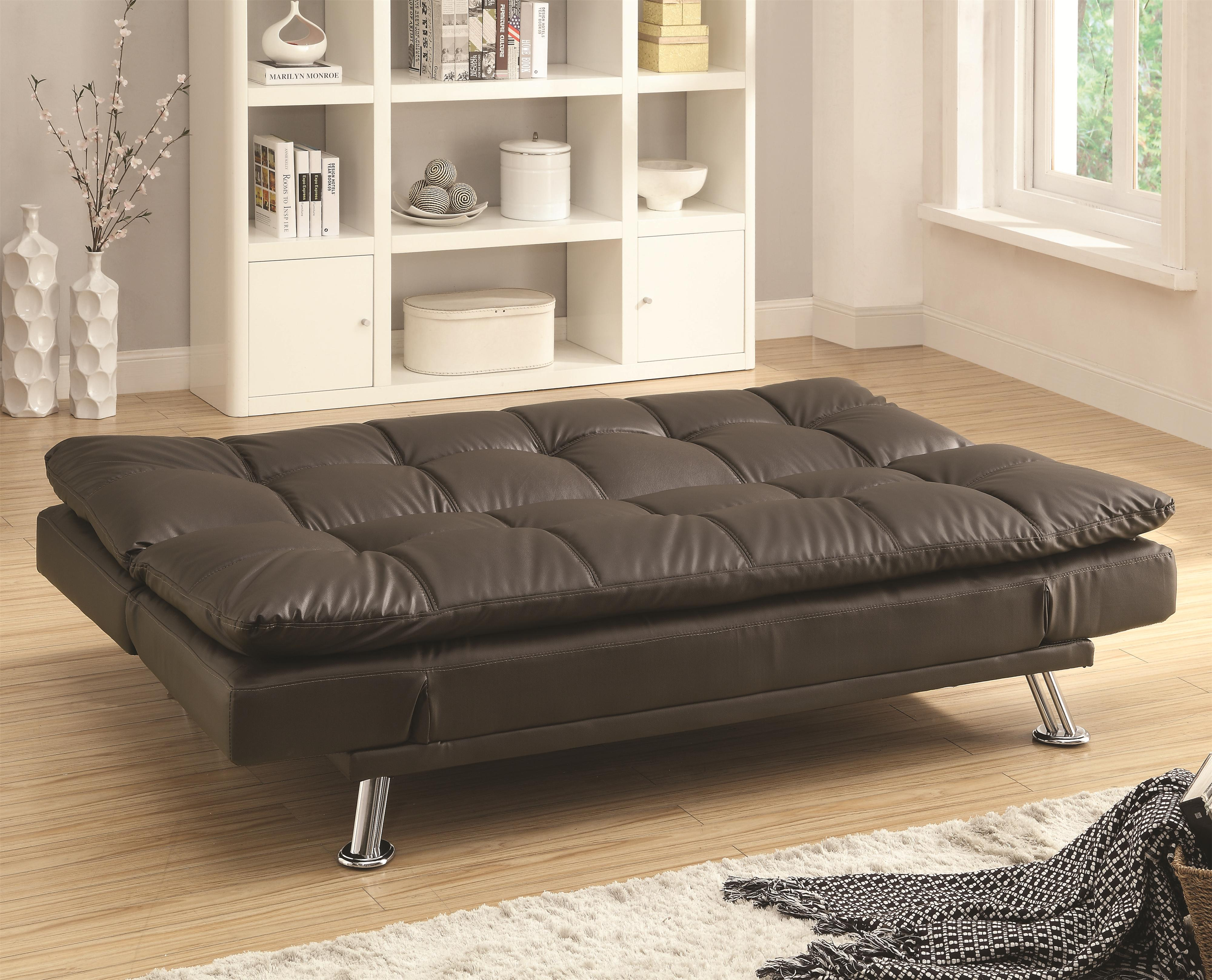 Sofa beds sofa bed in futon style with chrome legs for Sofa bed reviews 2014