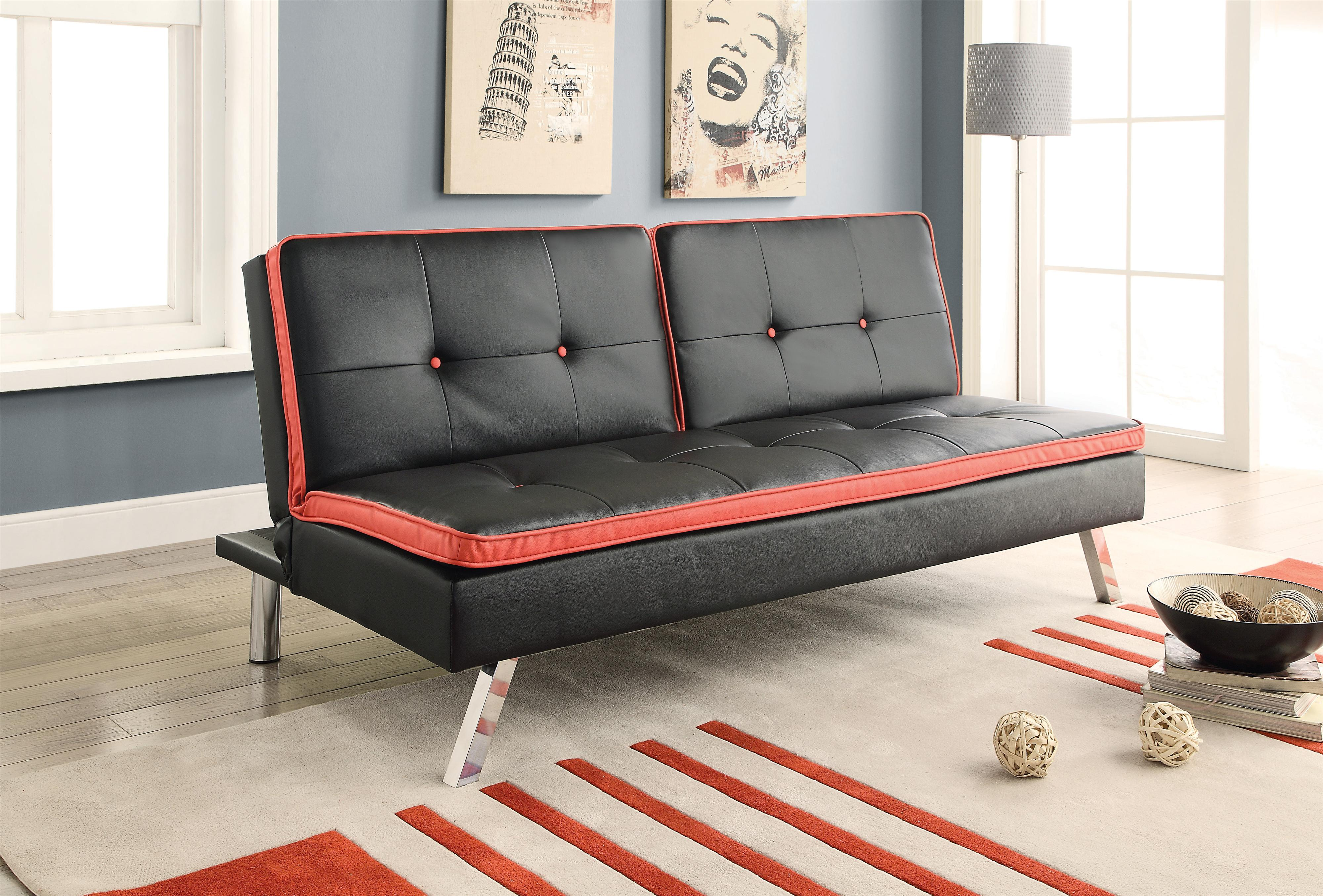 Sofa Beds and Futons Sofa Bed in Black Leatherette with Red Accents