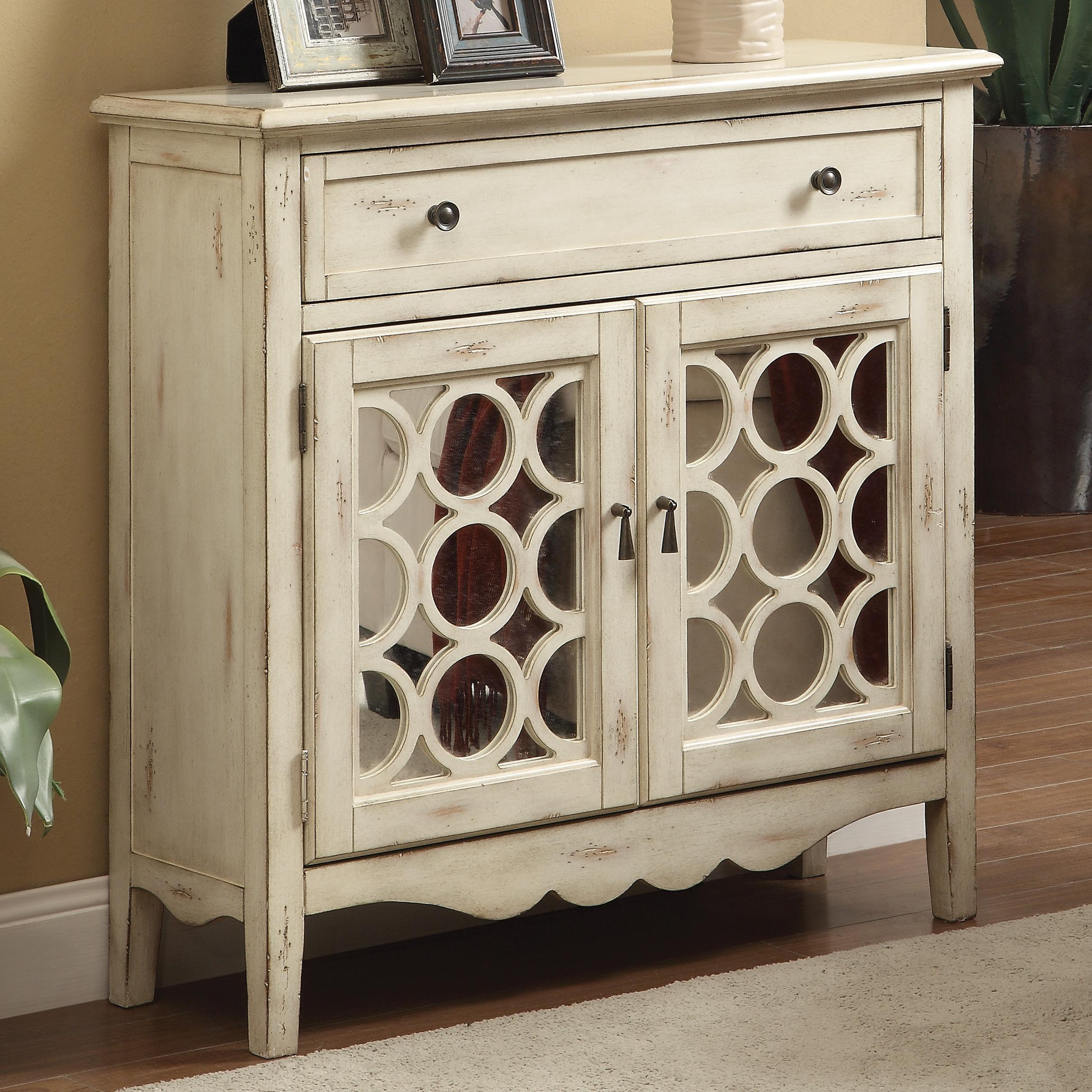 Accent Cabinets Antiqued White Finish Accent Cabinet with Mirror ...