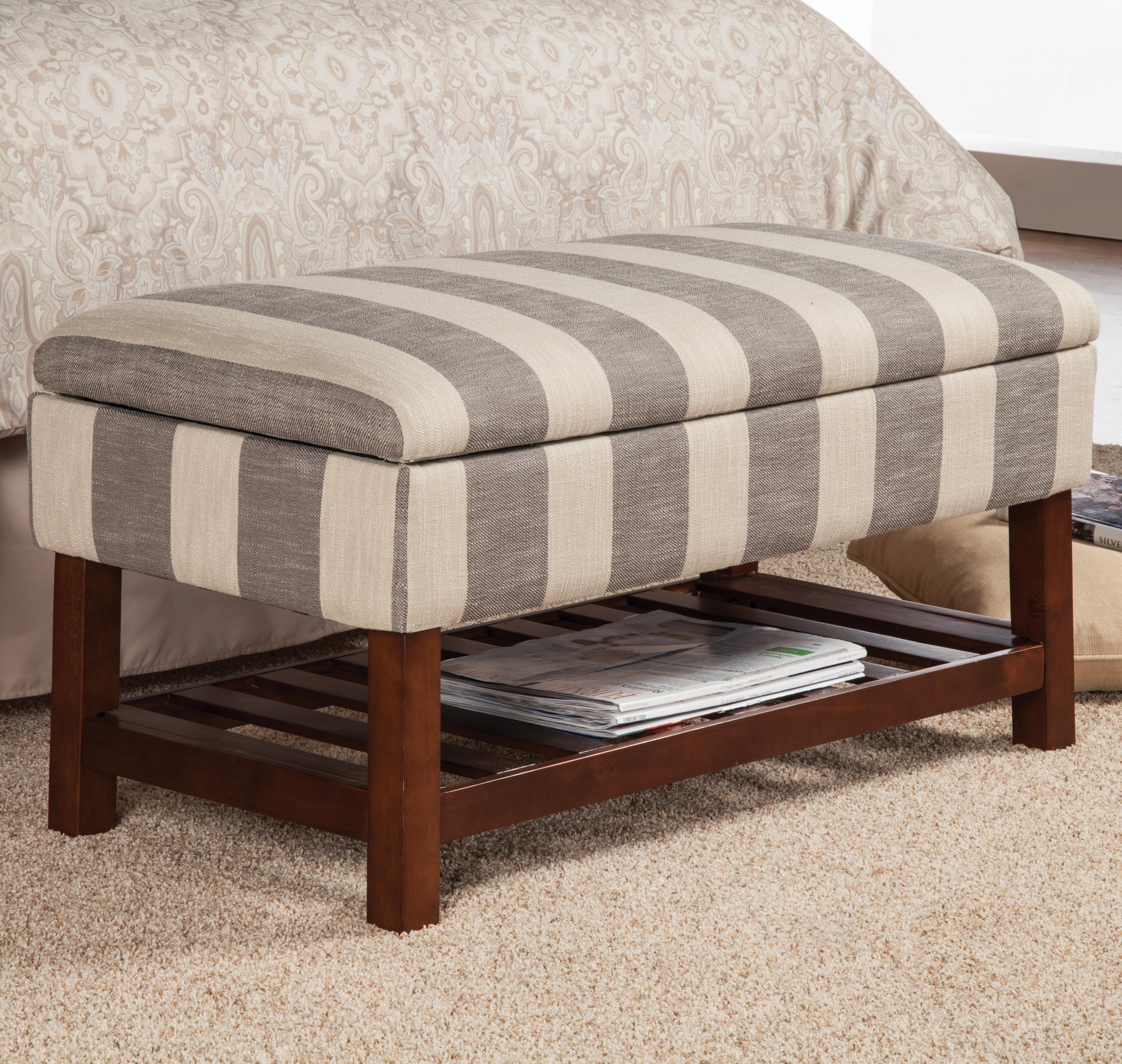 Benches Storage Bench In Stripe Fabric With Slate Shelf