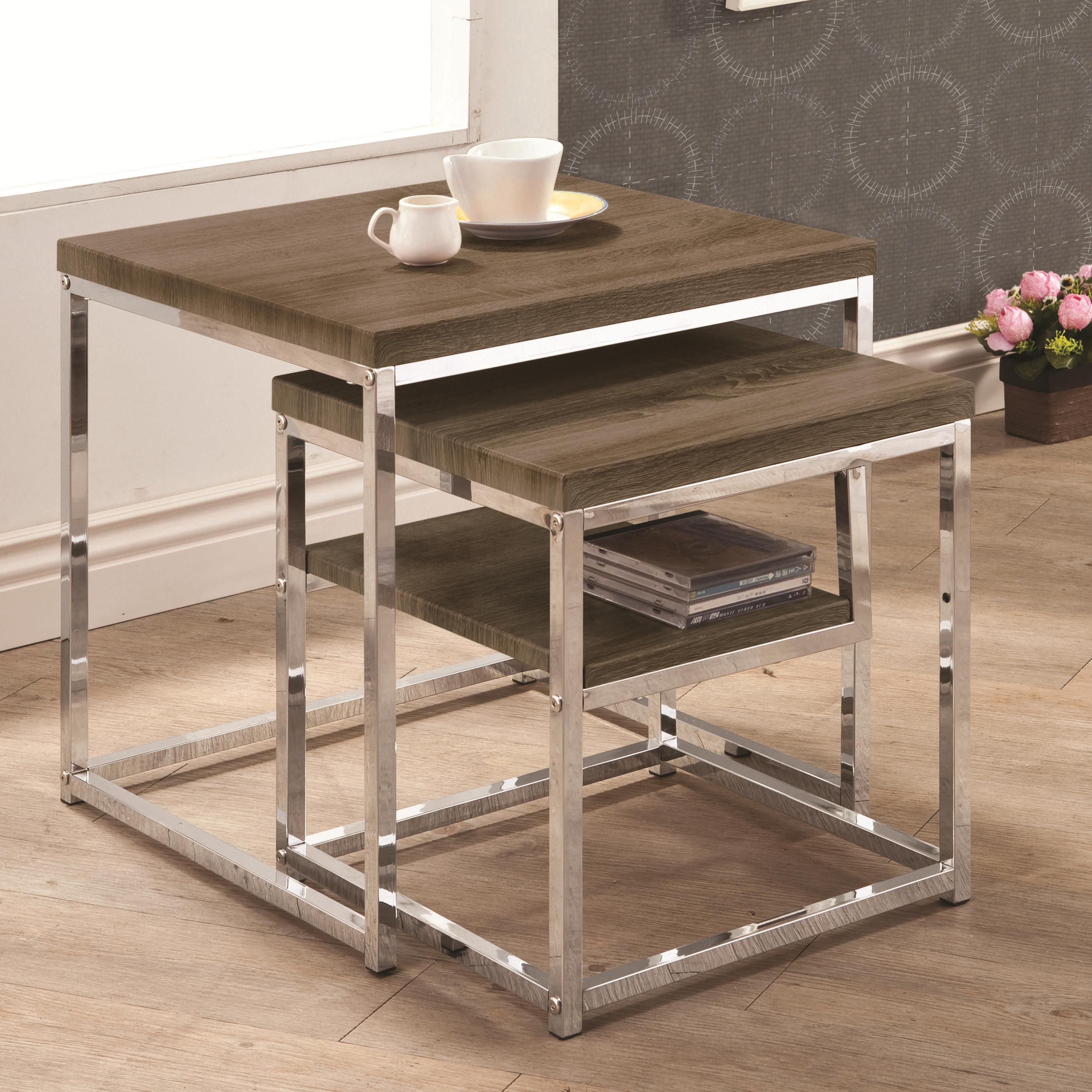 Contemporary Nesting Tables ~ Nesting tables contemporary table w weathered