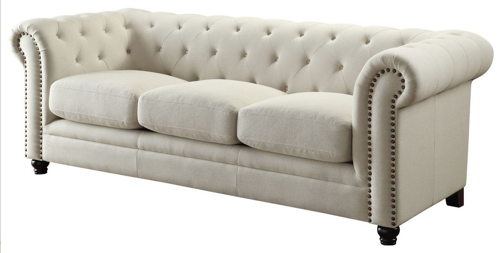 Roy Traditional Oatmeal Linen Blend Sofa