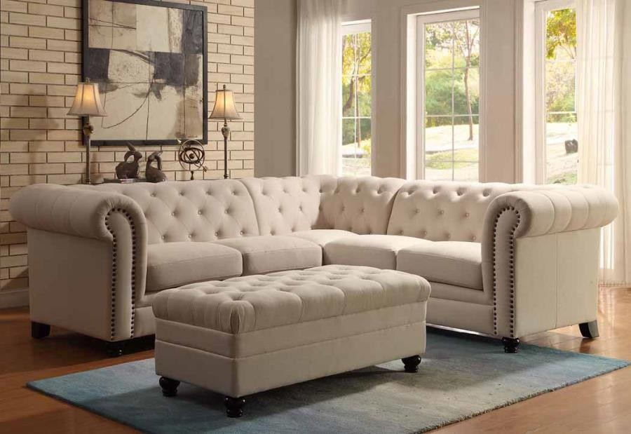 Roy Oatmeal Linen Traditional Sectional ... : traditional sectionals - Sectionals, Sofas & Couches