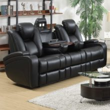 delange leather power reclining sofa theater seats with power adjustable headrests u0026 storage in armrests