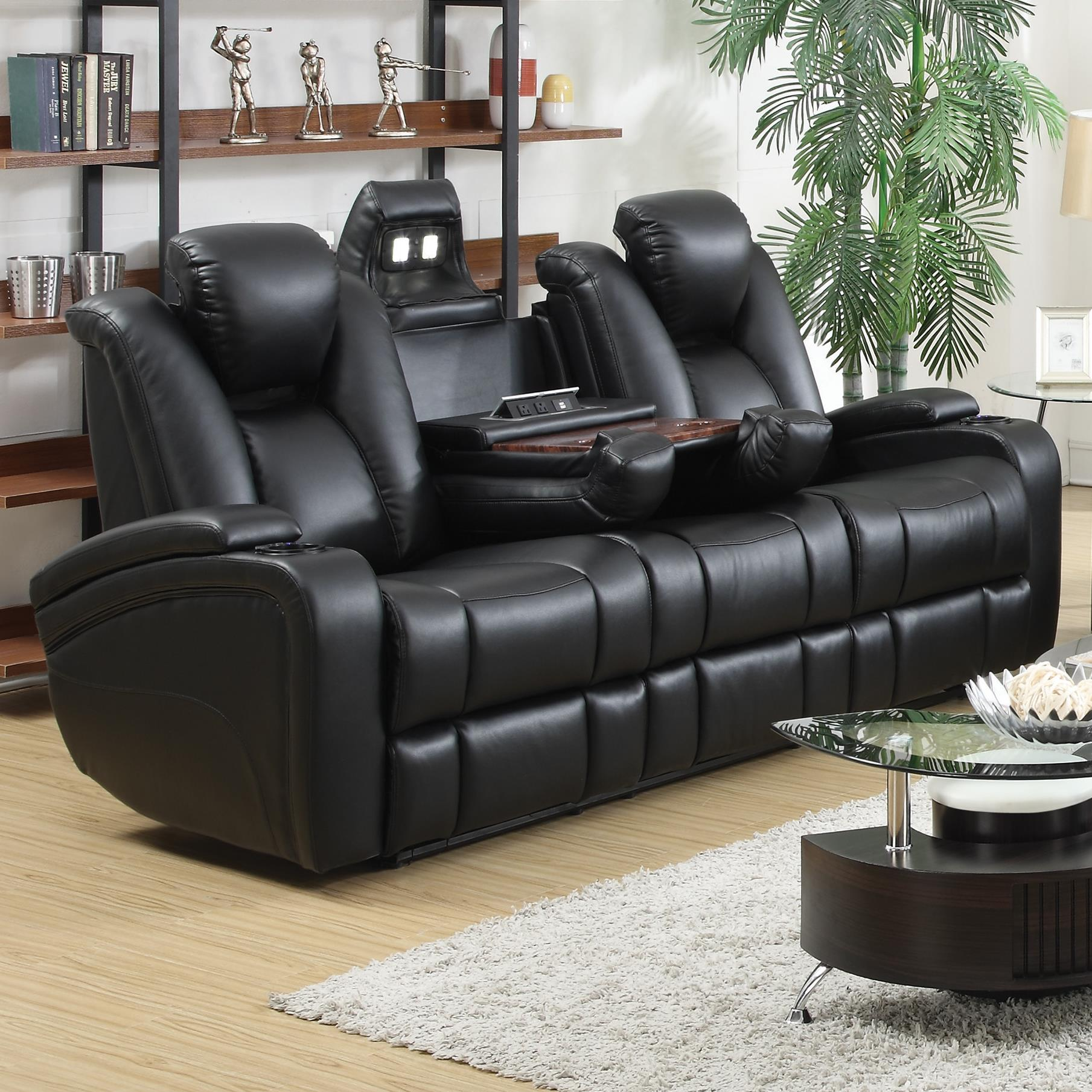 delange leather power reclining sofa theater seats with power adjustable headrests storage in. Black Bedroom Furniture Sets. Home Design Ideas