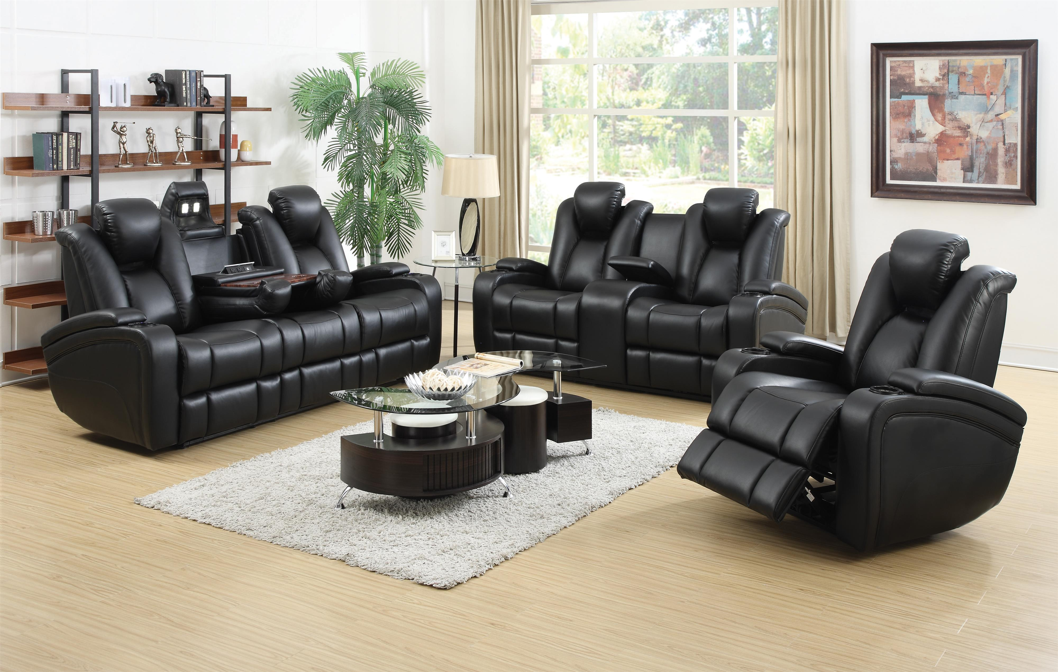 Delange Leather Power Reclining Sofa Theater Seats With