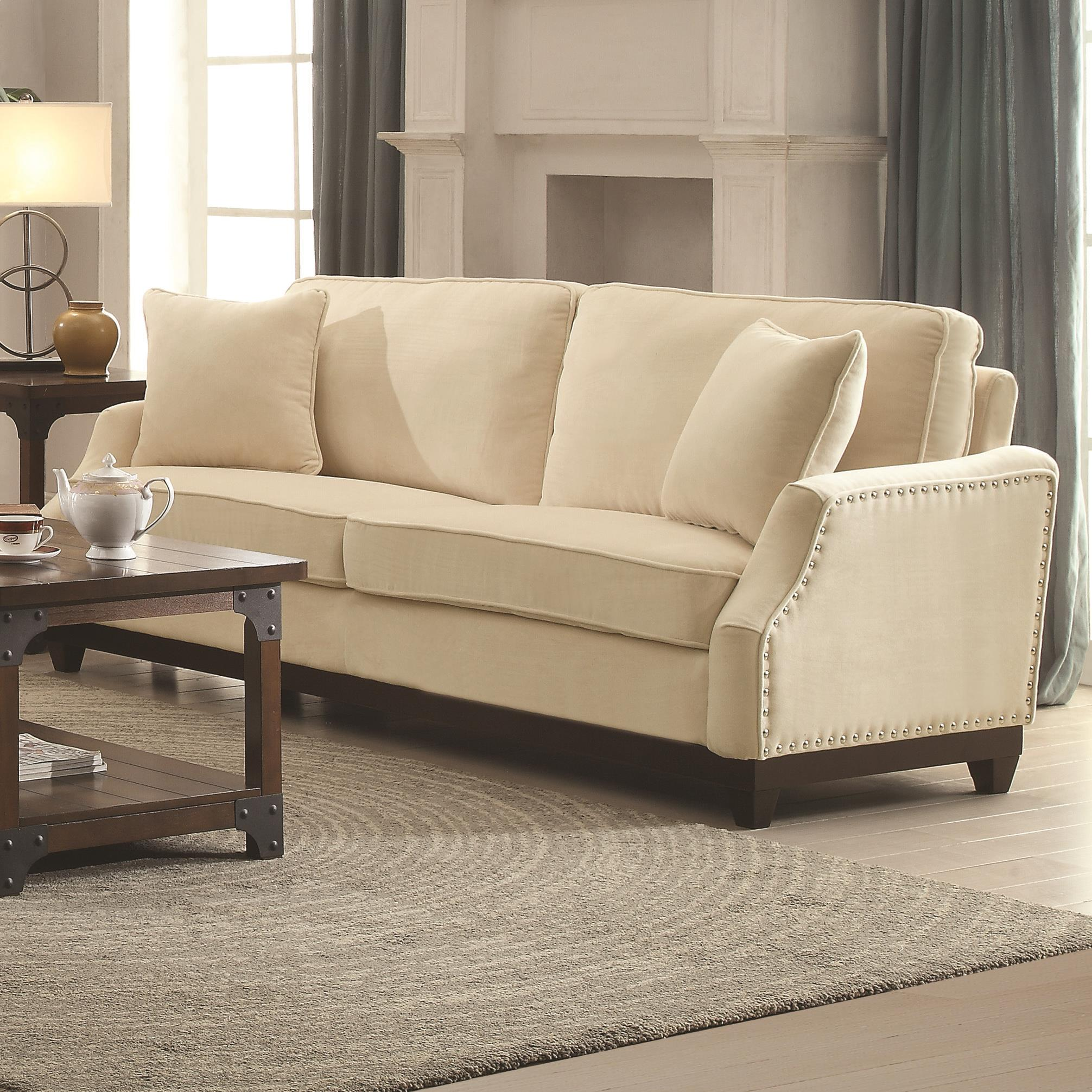 Acklin Transitional Sofa With Nail Head Trim Amp Track Arms