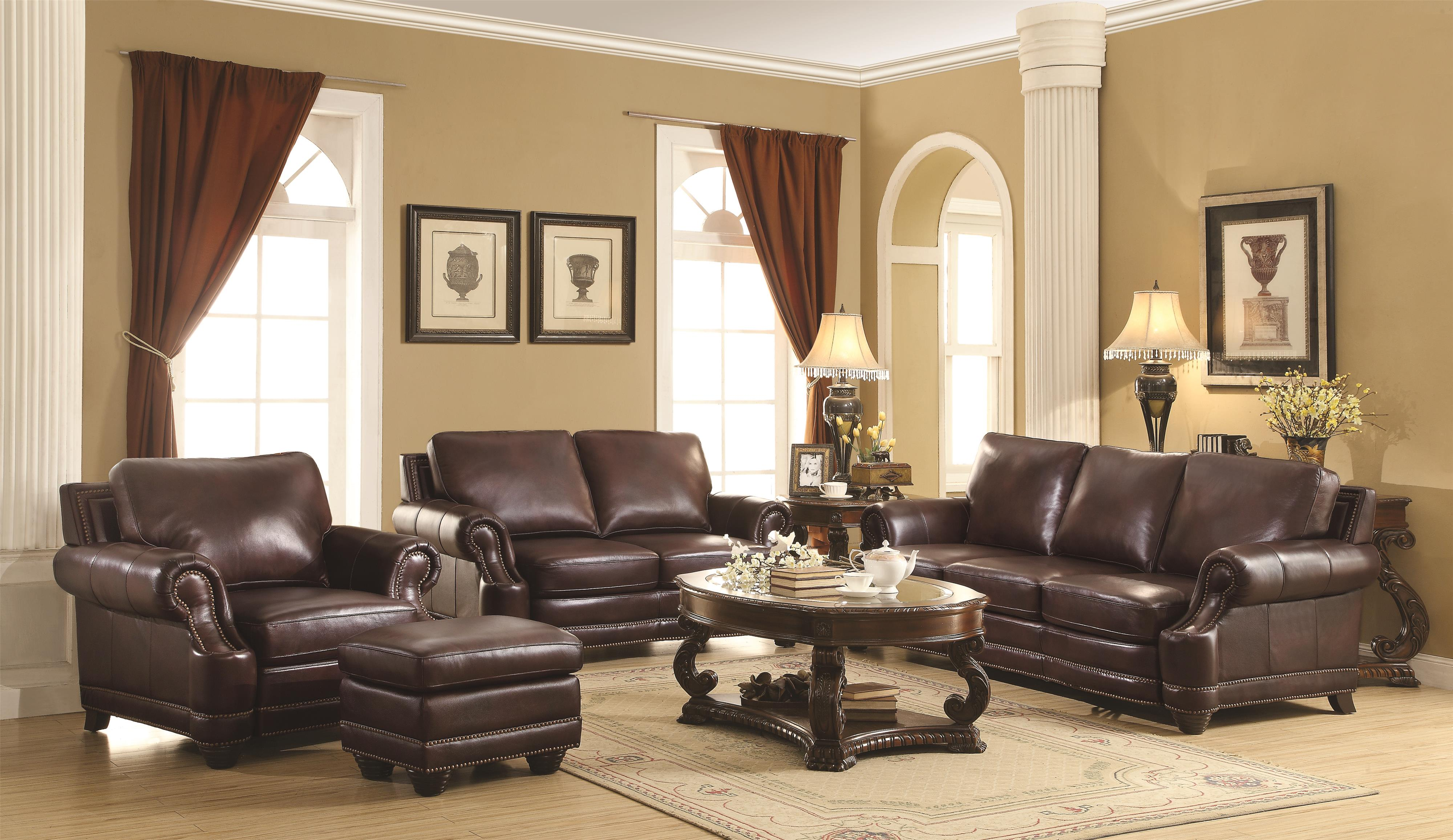Crawford Traditional 100% Leather Sofa with Scoop Arms and