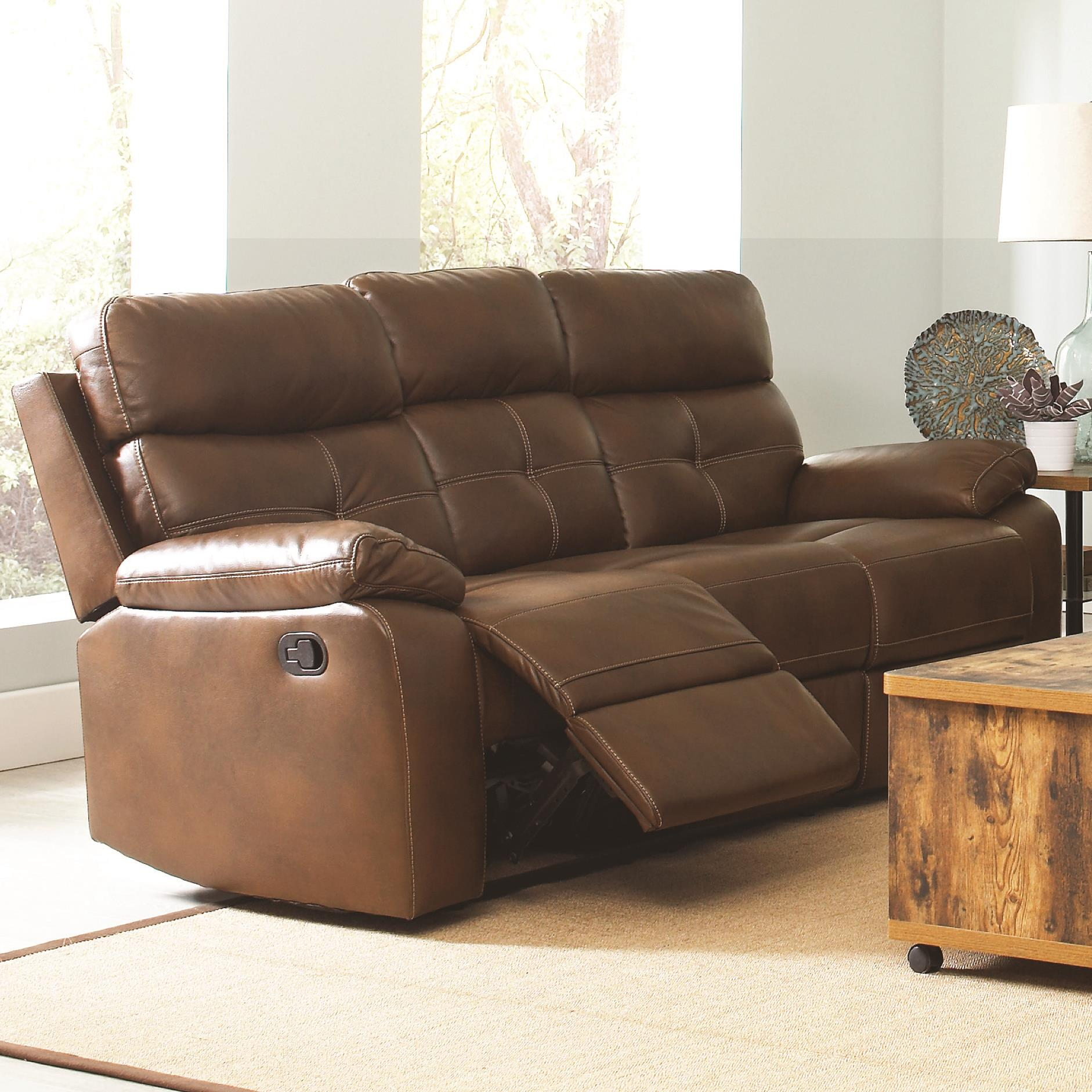 Damiano Casual Faux Leather Reclining Sofa With Button
