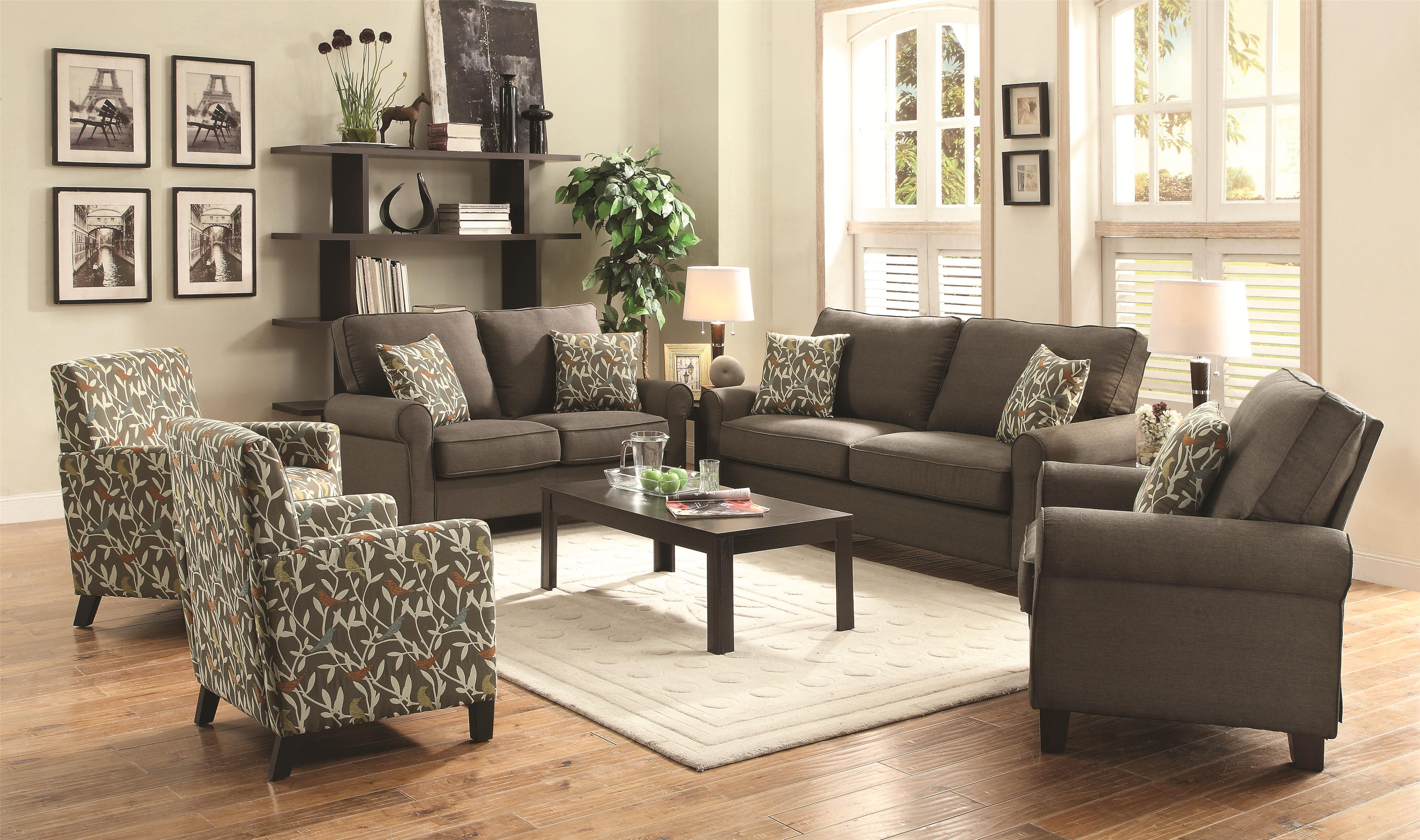 Noella Casual Stationary Sofa With Loose Pillow Back And
