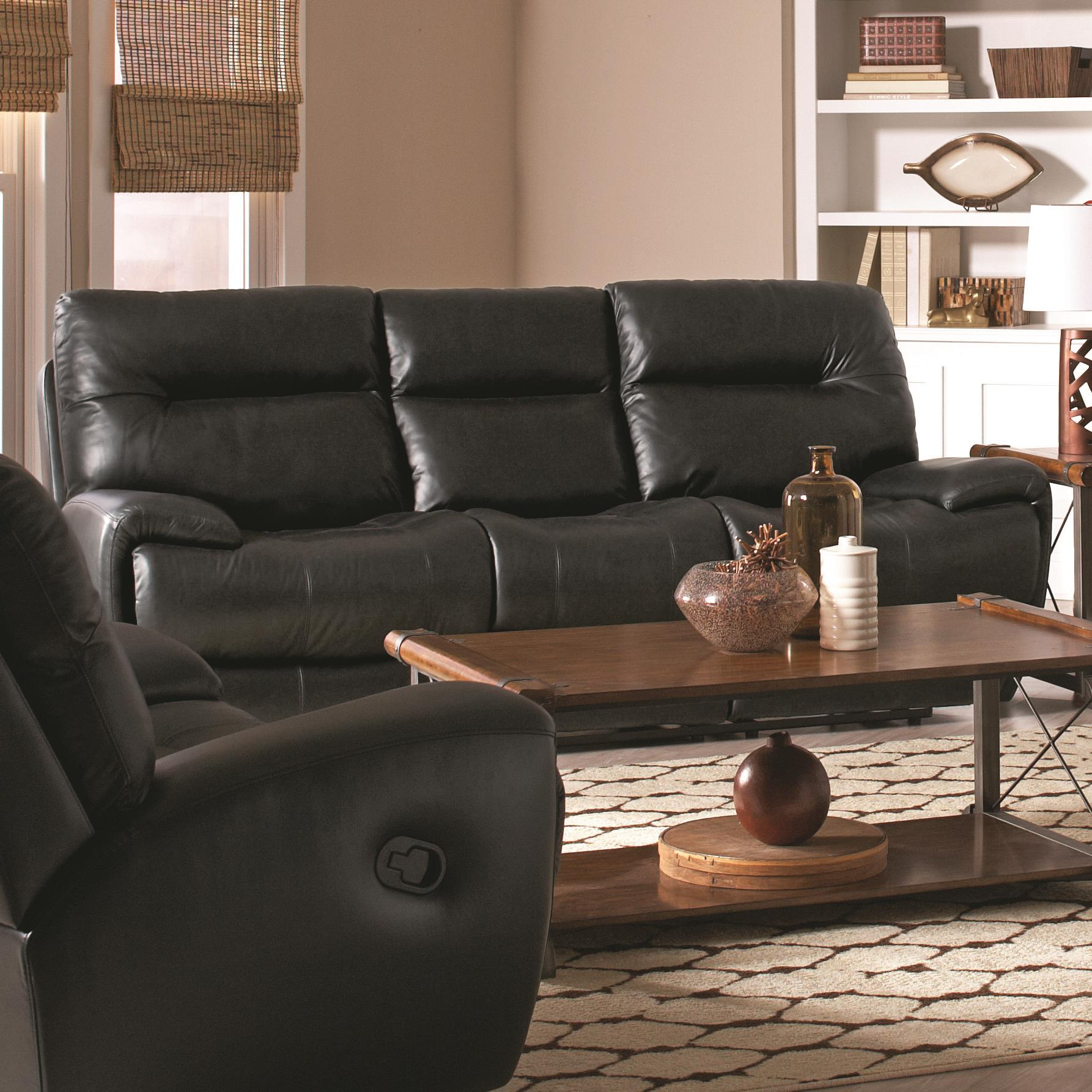 Sartell Contemporary Reclining Leather Sofa With Split Back Quality Furniture At Affordable