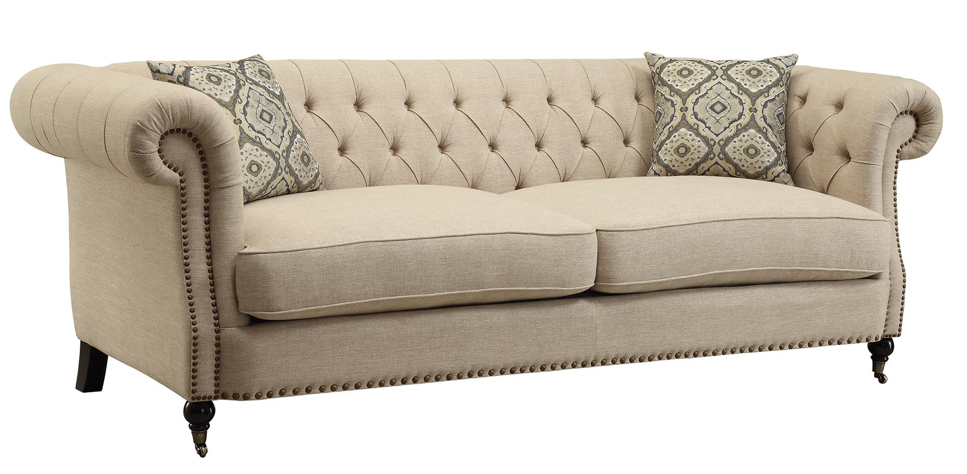 Trivellato Traditional Button Tufted Sofa With Large Rolled Arms And Nailheads Quality