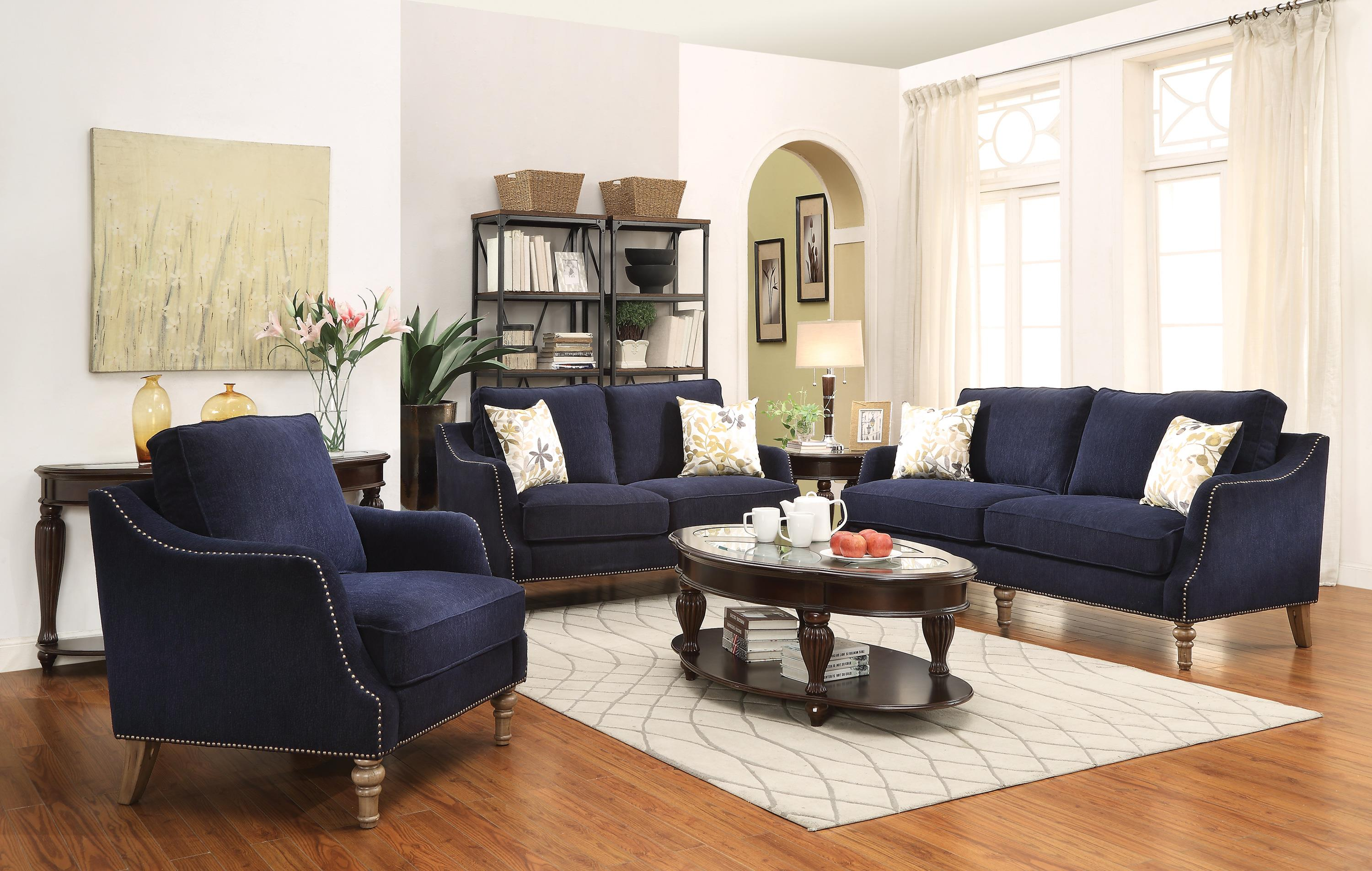 Vessot Transitional Sofa With Nailhead Studs And Feather Cushion