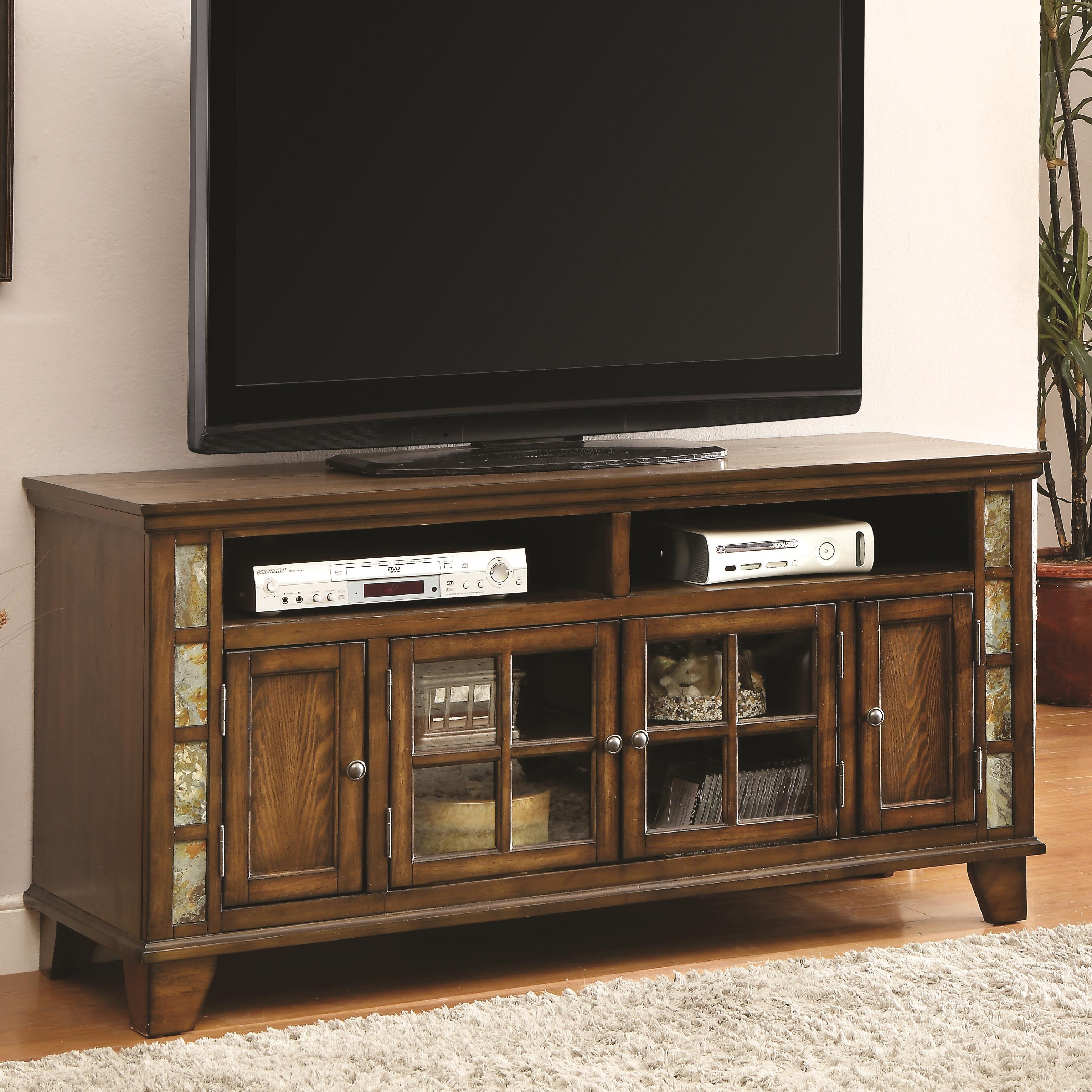 Tv Stand With Glass And Wood Doors Quality Furniture At
