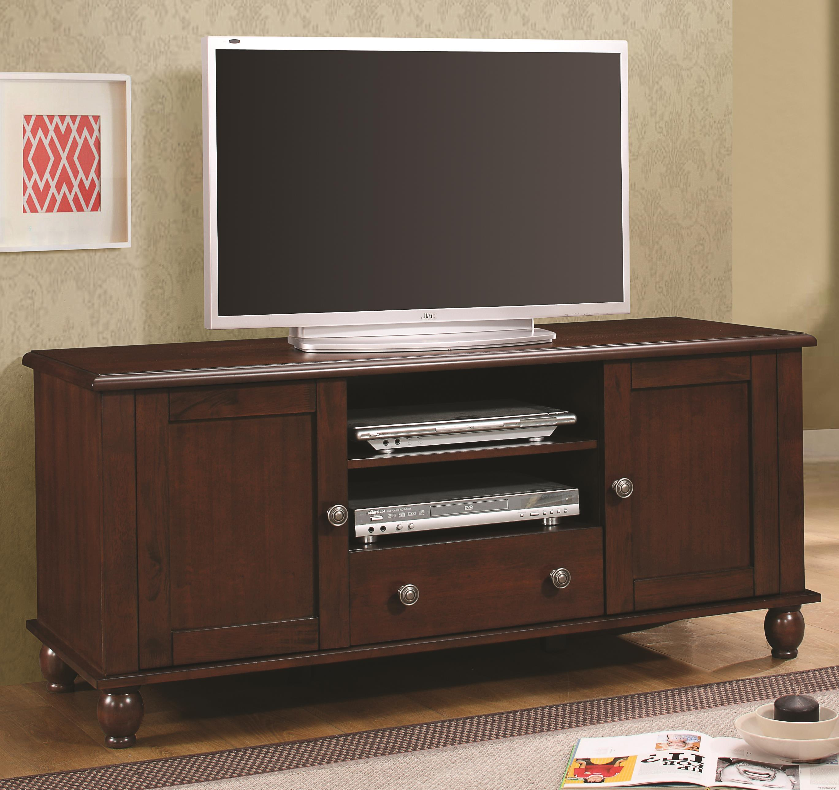 Tv Stands Transitional Console In Merlot Finish