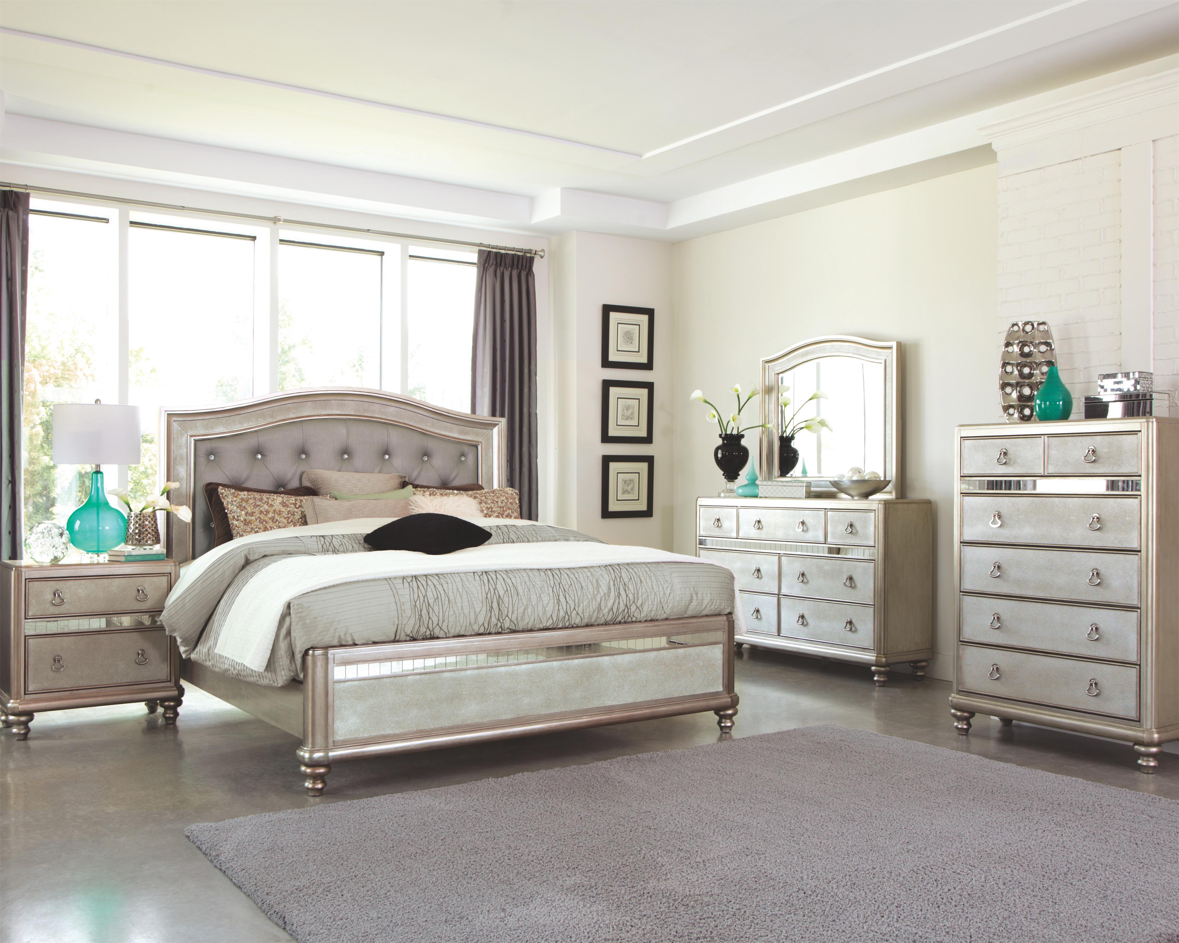 Bling Game Metallic Platinum 4 Piece Bedroom Set Quality