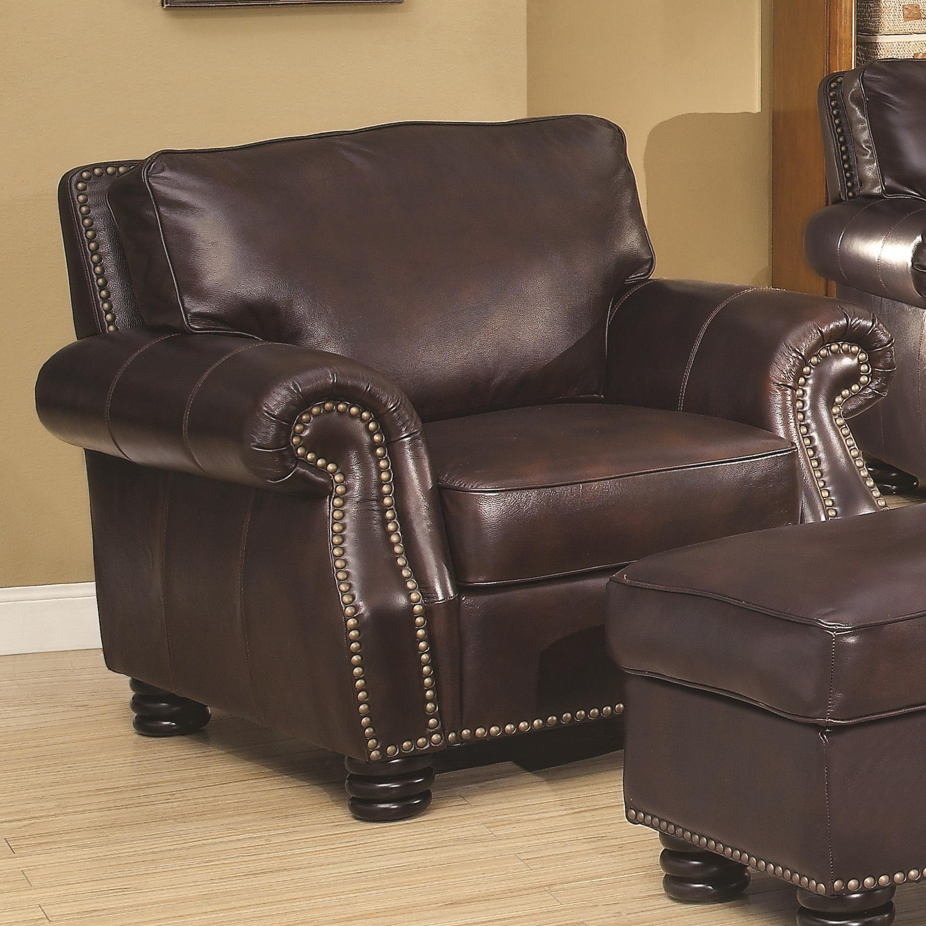 Briscoe By Coaster 100 Leather Chair With Traditional Style Quality Furniture At Affordable