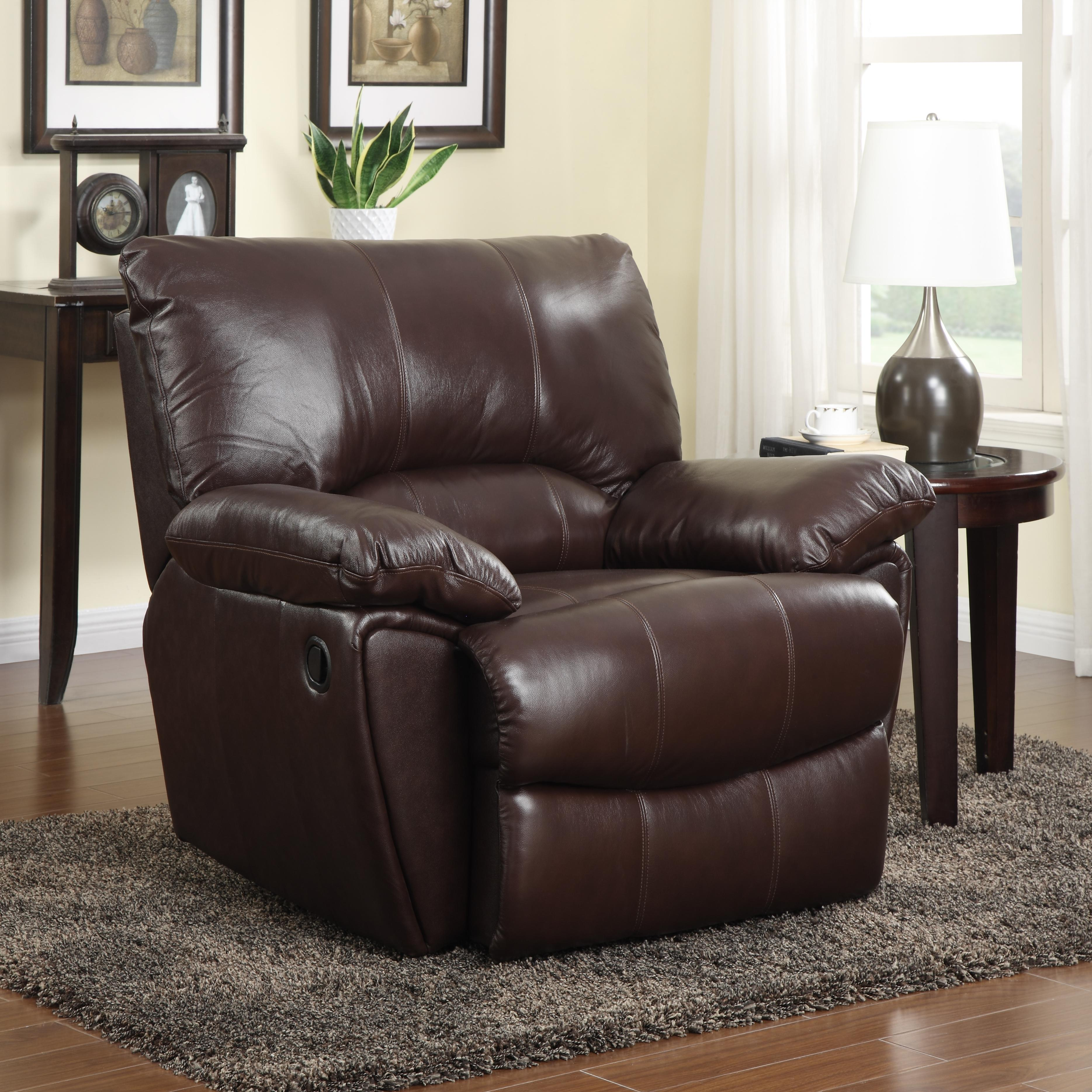 Clifford Brown Leather Recliner With Pillow Arms Quality