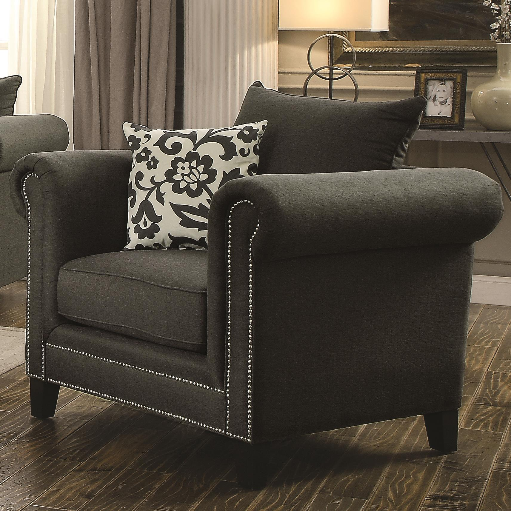 Emerson Transitional Rolled Arm Chair With Pewter