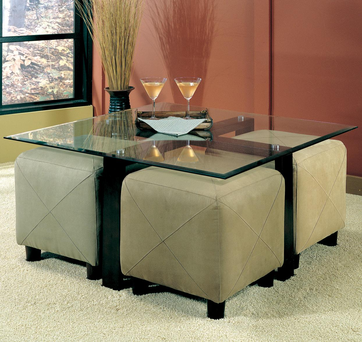 Cermak Contemporary Square Metal Cocktail Table With Glass Top - Cocktail table with 4 stools