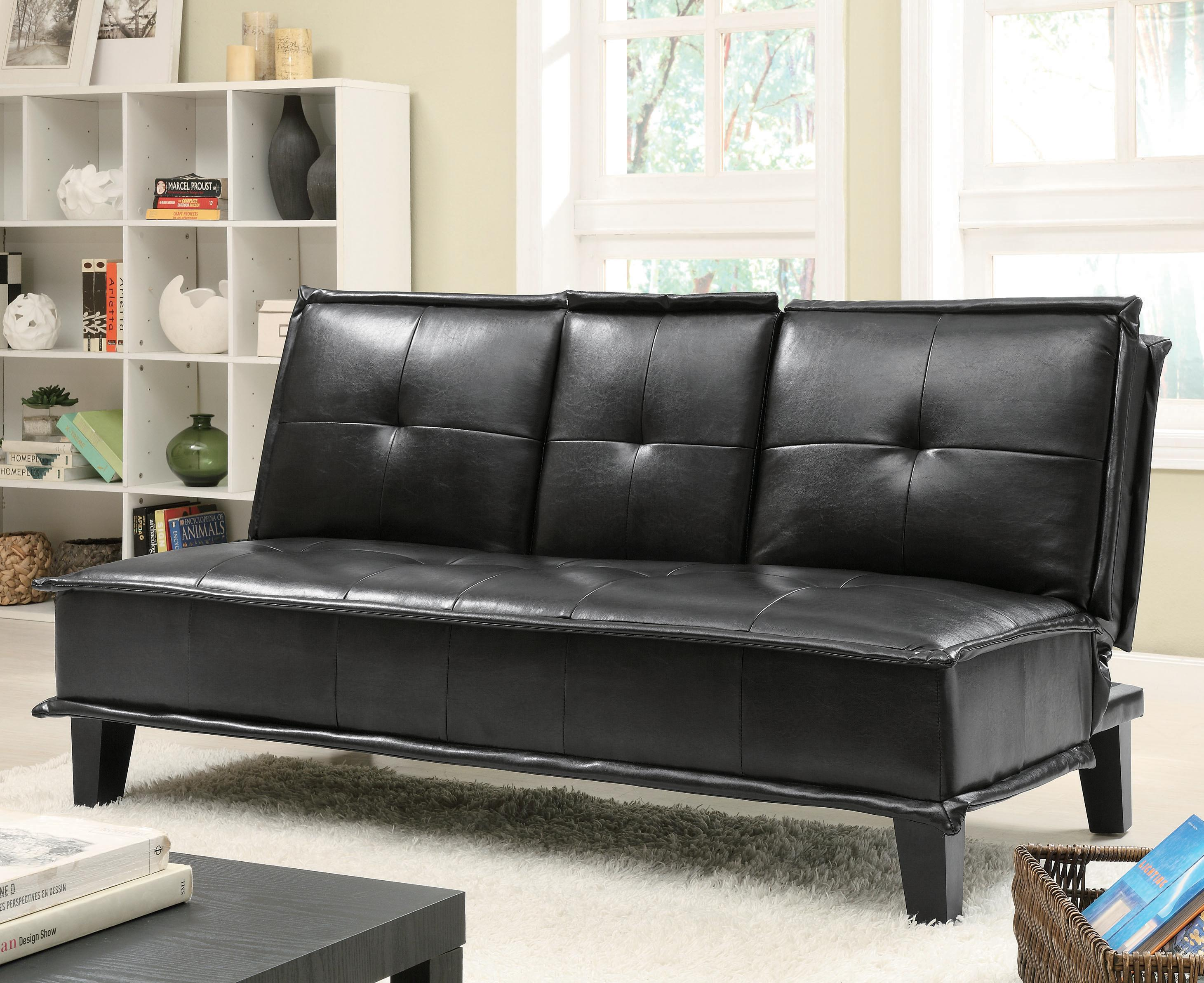 Sofa Beds And Futons Contemporary Black Vinyl Sofa Bed