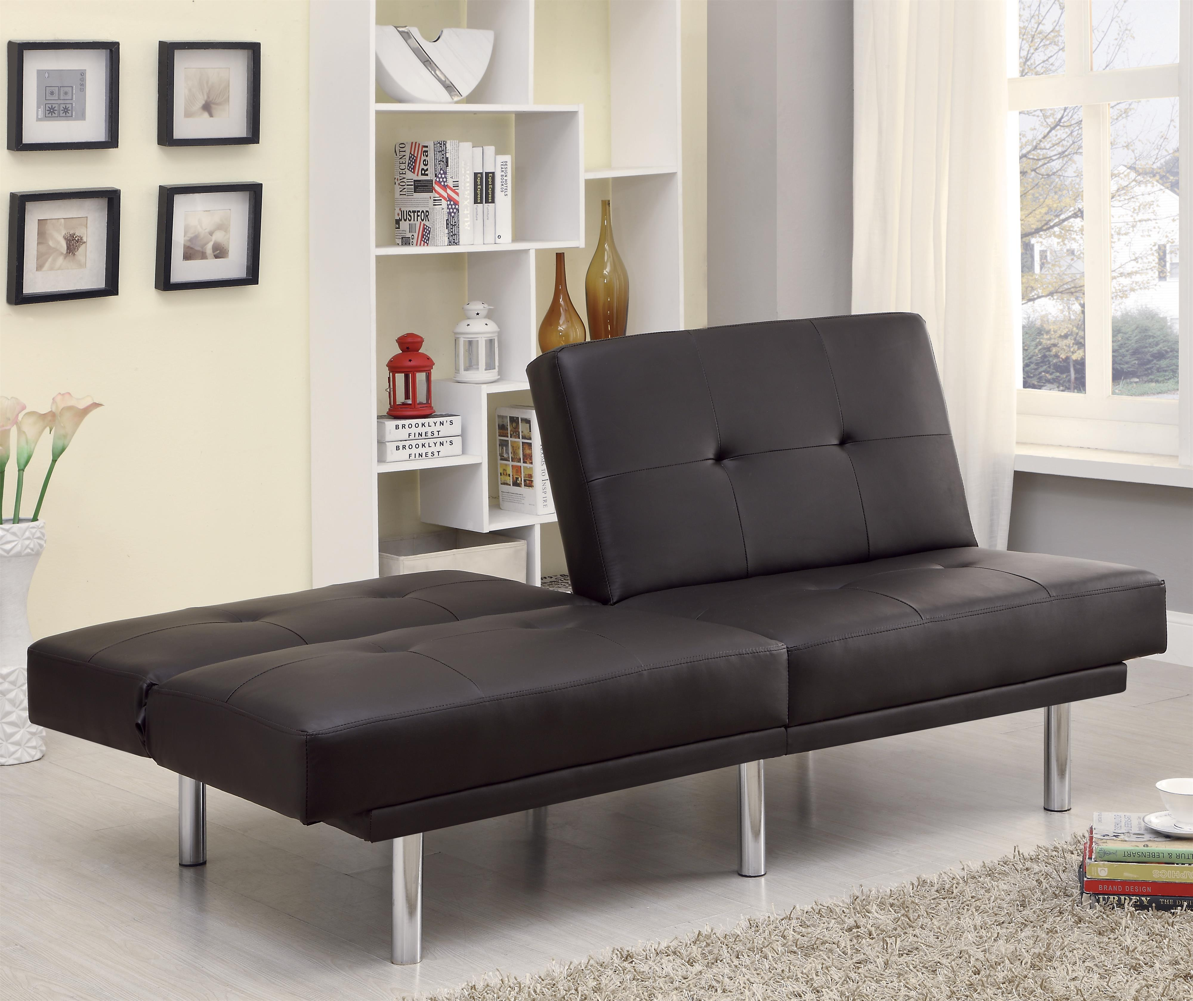 Contemporary Leatherette Sofa Bed With