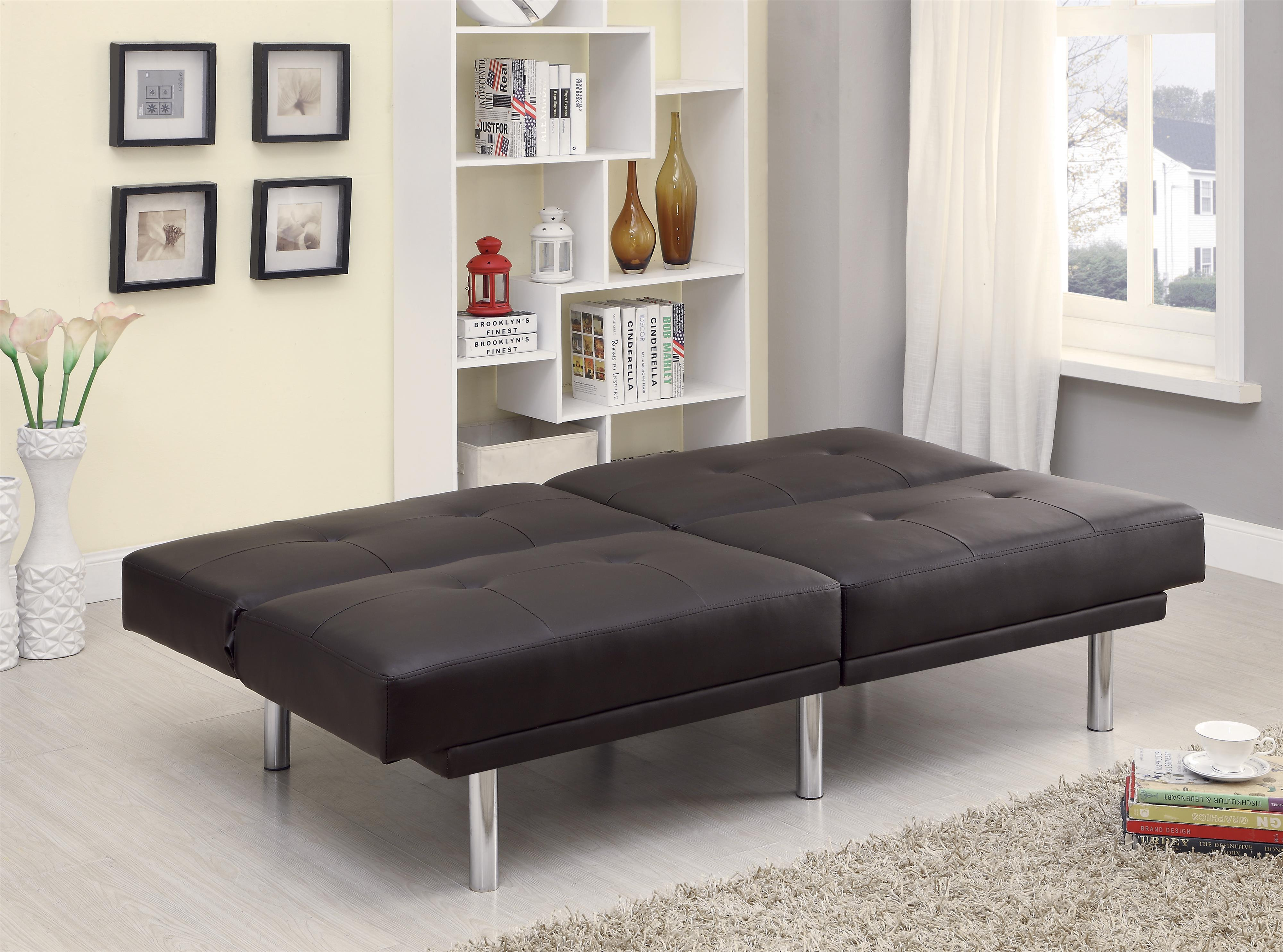 Sofa Beds And Futons Contemporary Leatherette Sofa Bed With Split Back Qu
