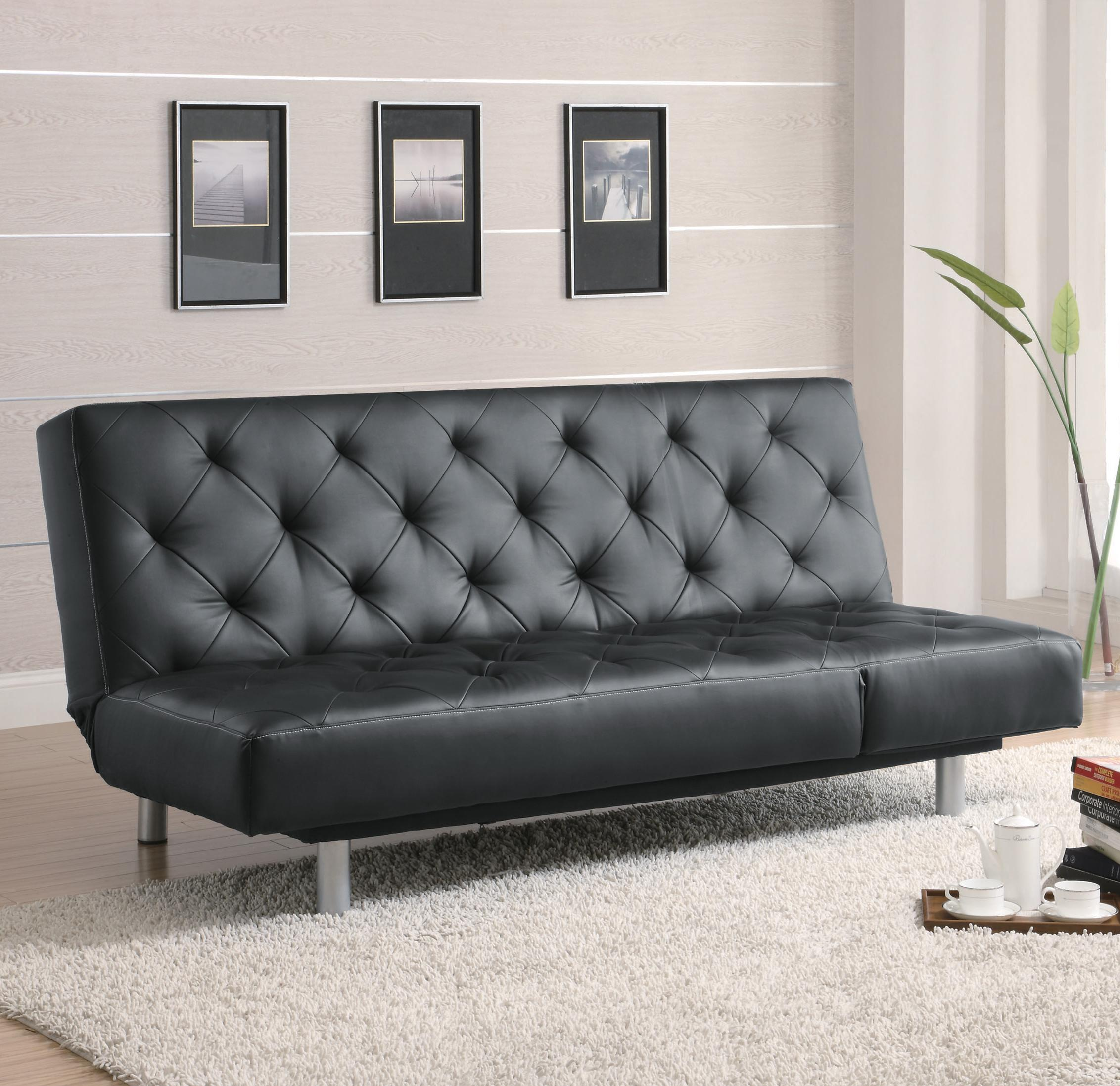 Sofa Beds And Futons Black Vinyl Tufted Sofa Bed