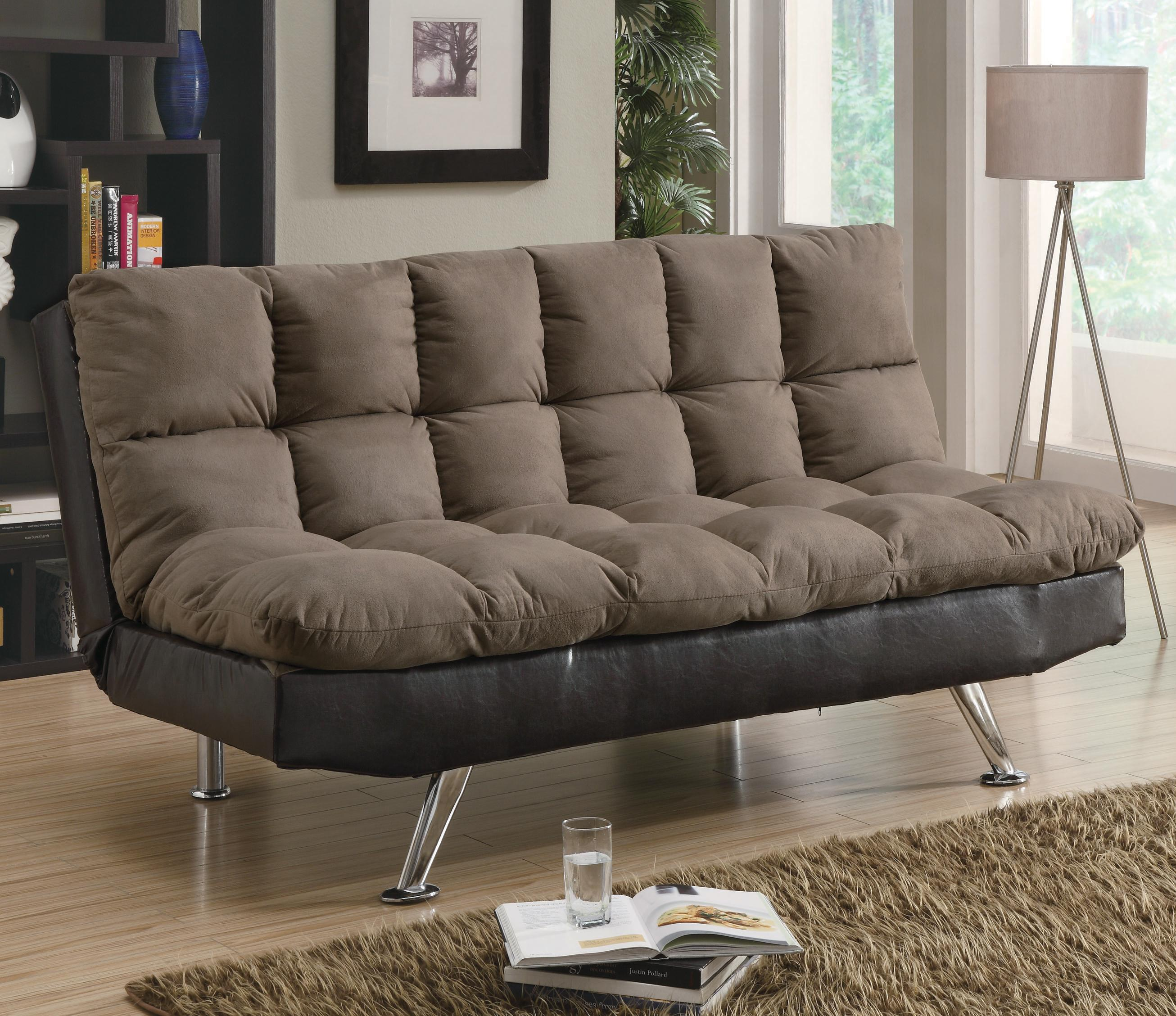 Sofa Beds And Futons Contemporary Brown Microfiber Dark