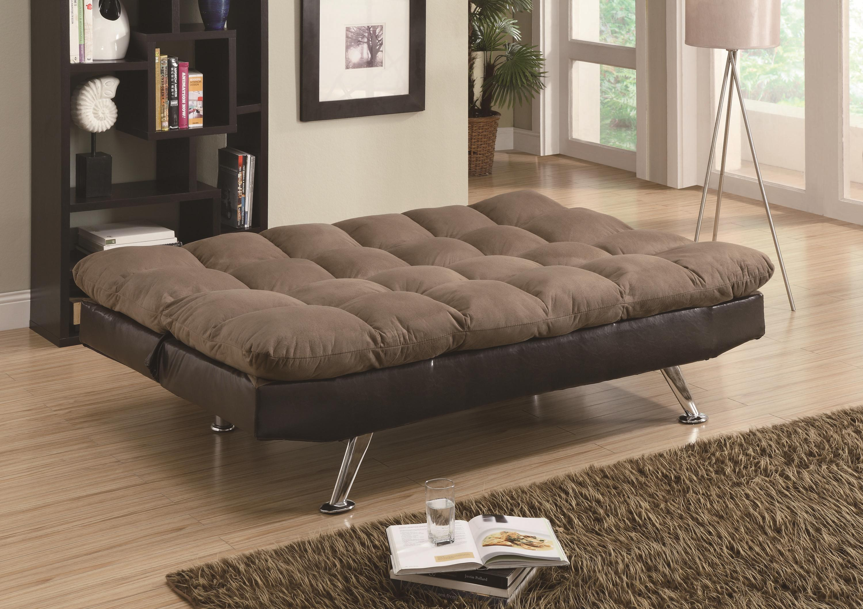 Sofa Beds and Futons – Contemporary Brown Microfiber/Dark Brown ...