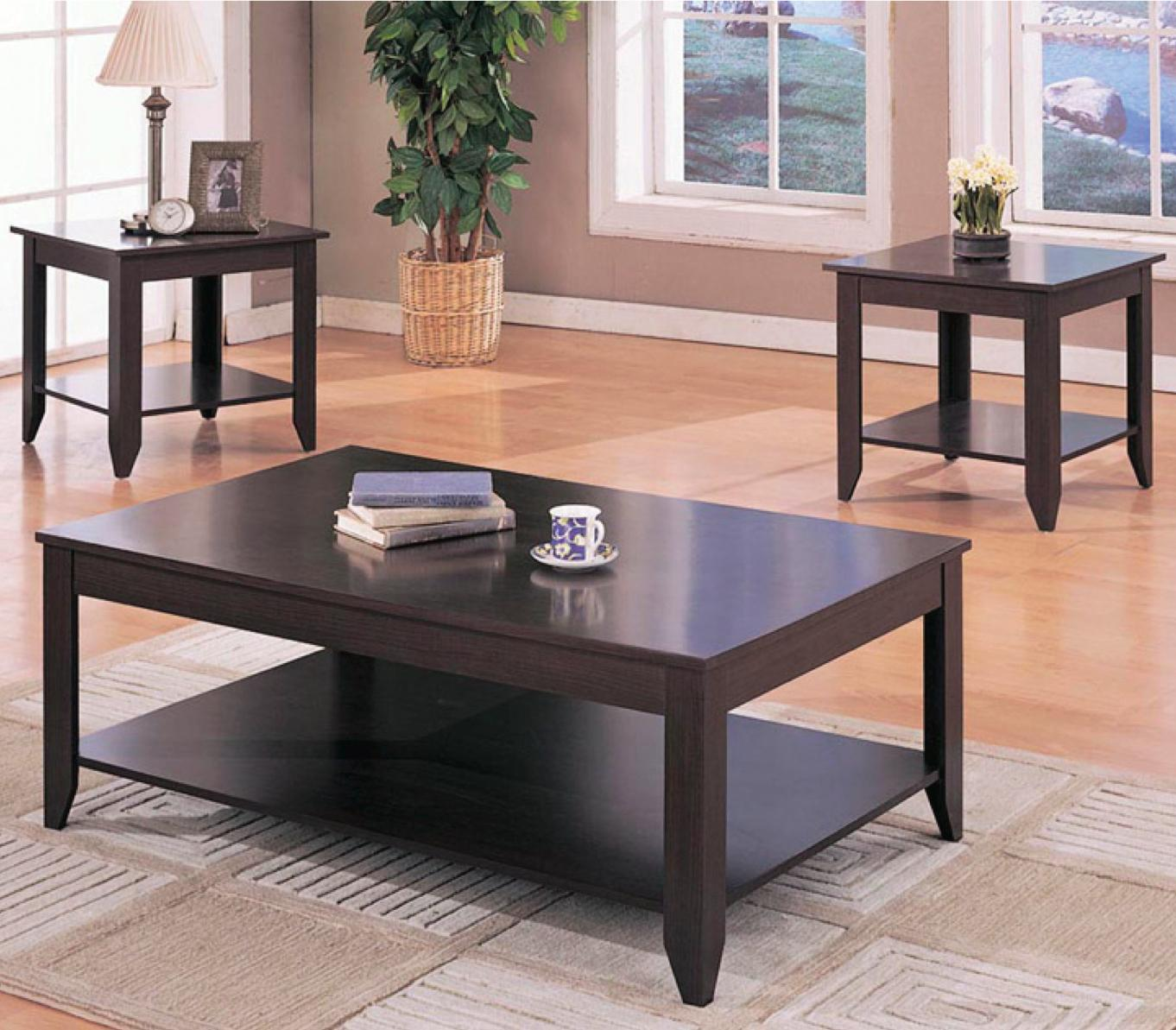 3 Piece Occasional Table Sets Contemporary Set With Shelves