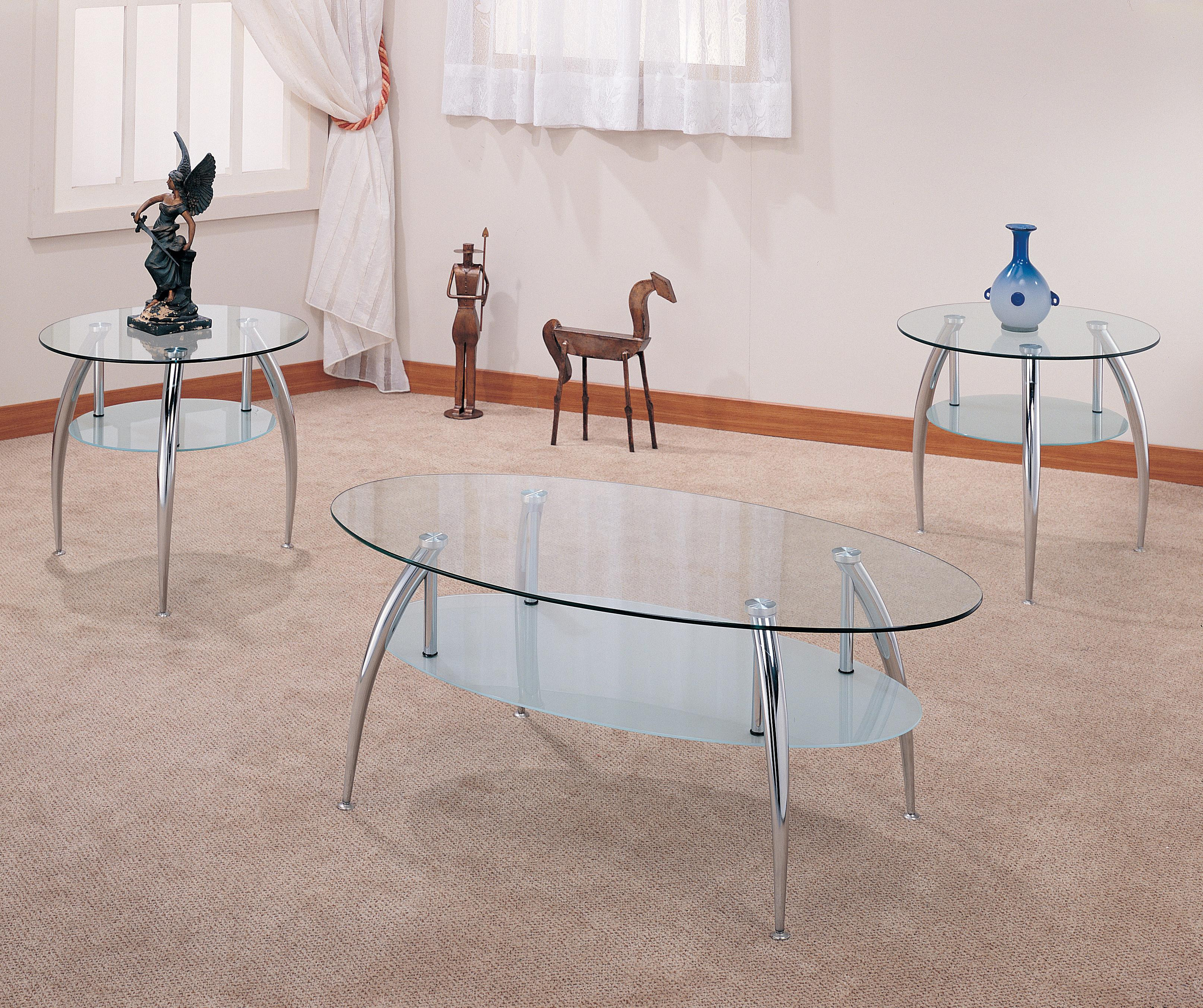 3 Piece Oval Coffee Table Set: 3 Piece Occasional Table Sets 3 Piece Chrome And Glass