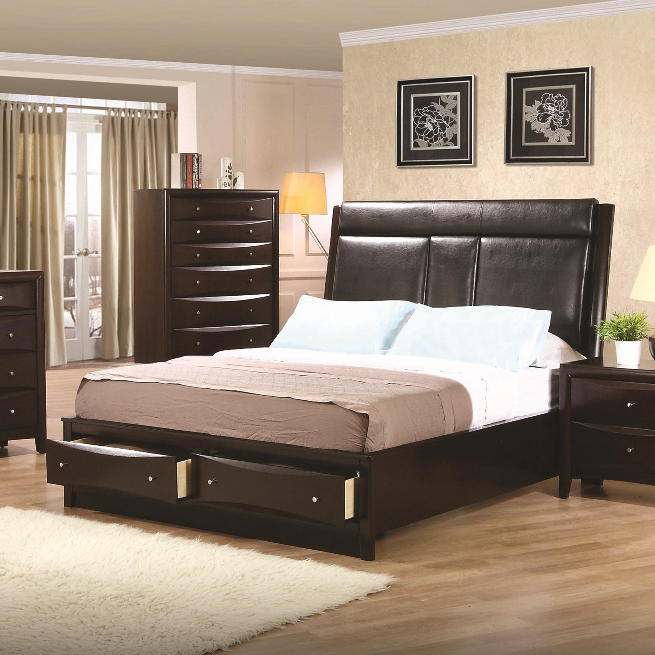 phoenix california king upholstered storage platform bed - King Padded Bedroom Designs