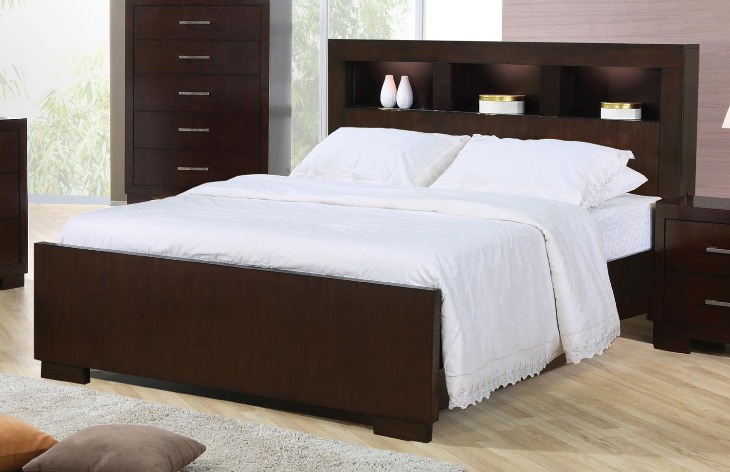 Jessica California King Contemporary Bed With Storage Headboard