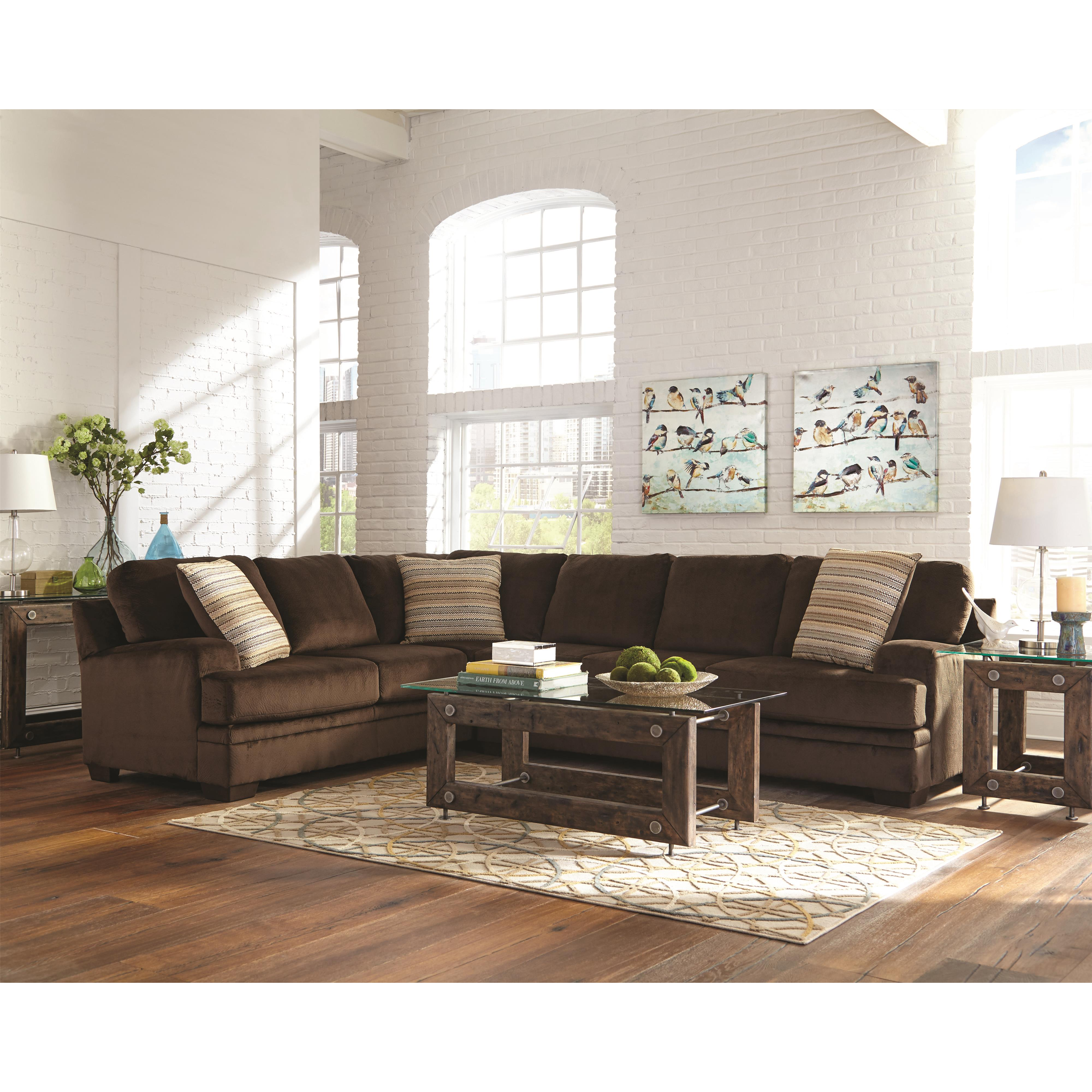 Robion Dark Brown Plush Corner Sectional Quality