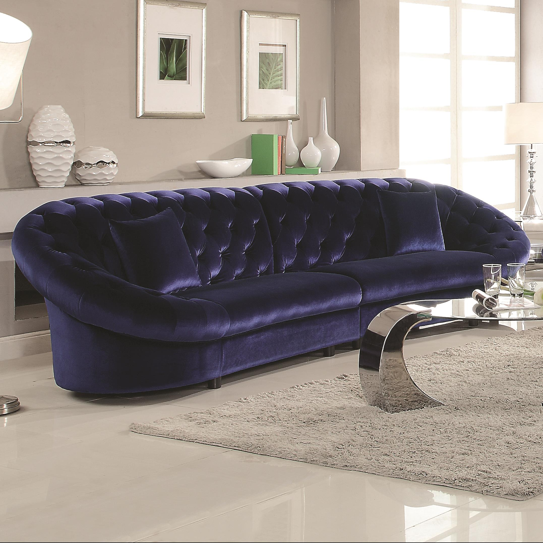 Romanus Mid Century Modern Blue Velvet Sectional Sofa Quality  ~ Affordable Mid Century Sofa
