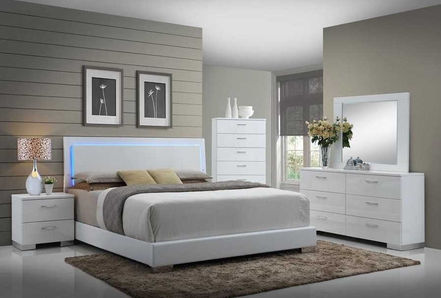 Felicity Glossy White With Led Lighting King Bed Quality