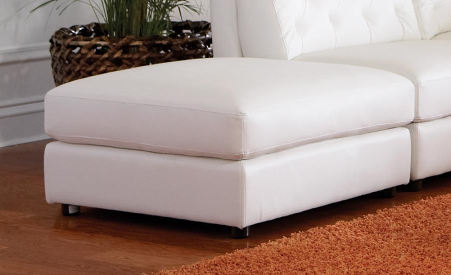 Quinn Transitional White Leather Modular Sectional Sofa