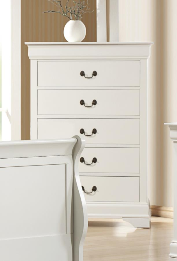 Louis Philippe 5 Drawer Chest White Quality Furniture At