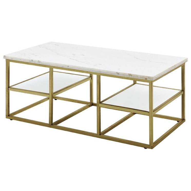 Home Accents White Marble Top Coffee Table With Brass Frame - Affordable marble coffee table