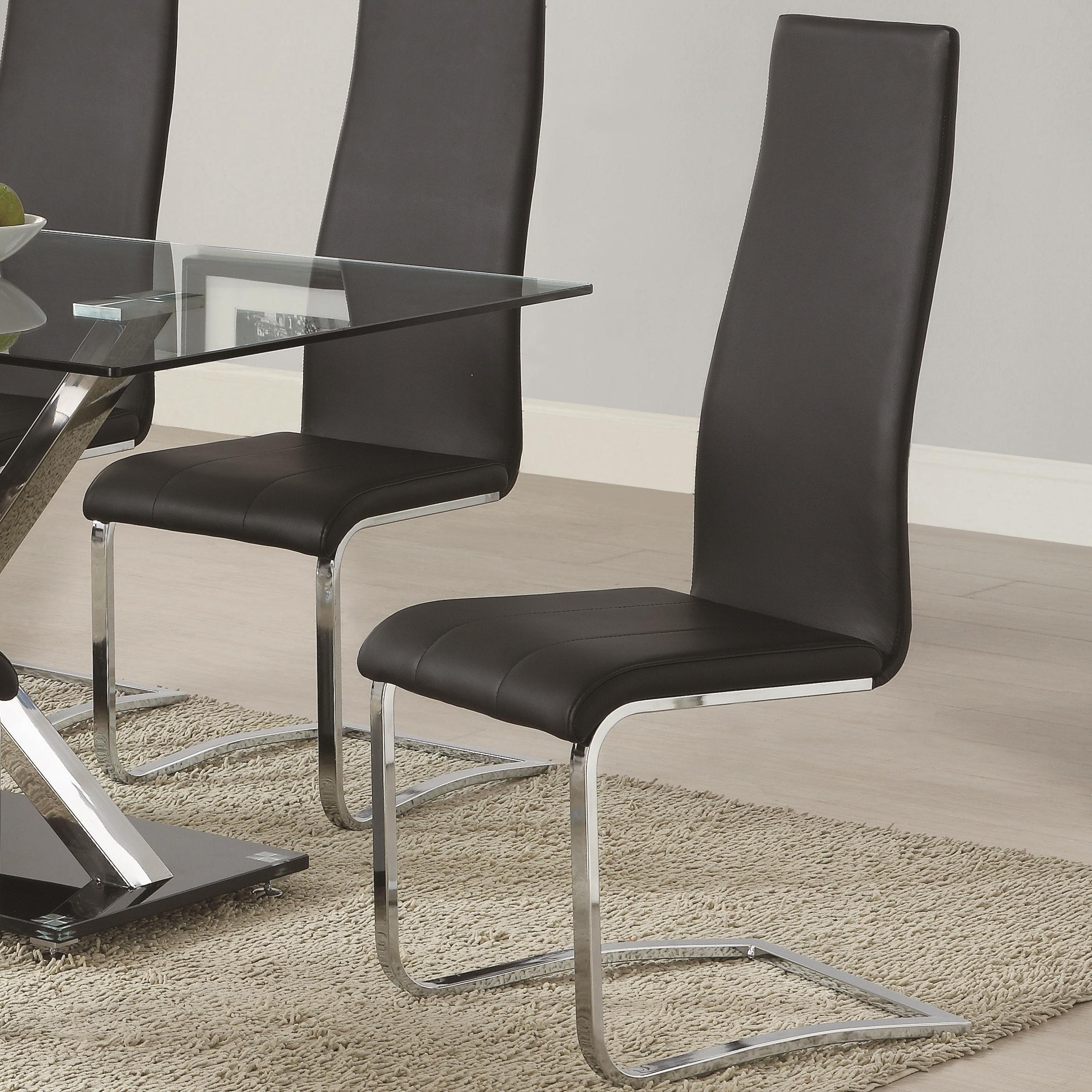 Modern Dining Black Faux Leather Dining Chair With Chrome